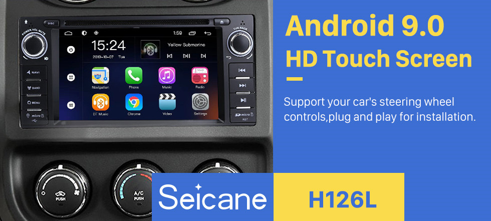 Seicane In Dash 2007-2013 Jeep Wrangler Unlimited 7 inch Radio Upgrade with Android 8.1 DVD Player Bluetooth GPS Navigation Car Audio System  Touch Screen WiFi 3G Mirror Link OBD2 Backup Camera DVR AUX