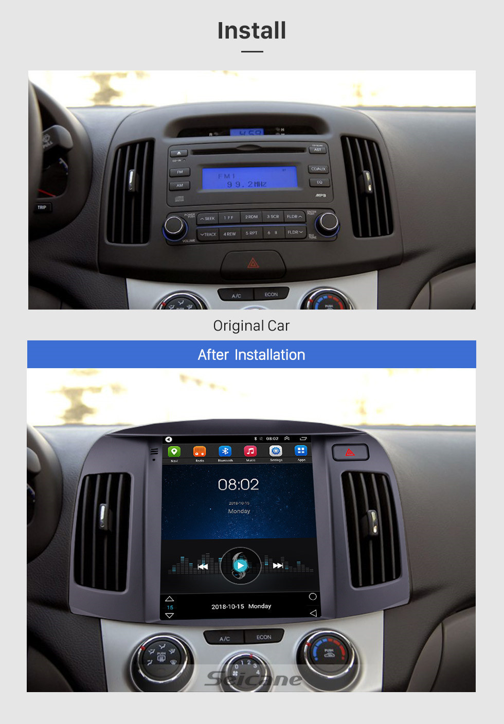 Seicane 9.7 inch HD Touchscreen 2008 2009 2010 Hyundai Elantra Android 9.1 Radio GPS Navigation with Mirror Link CPU Quad Core Bluetooth Music 4G WIFI Steering Wheel Control