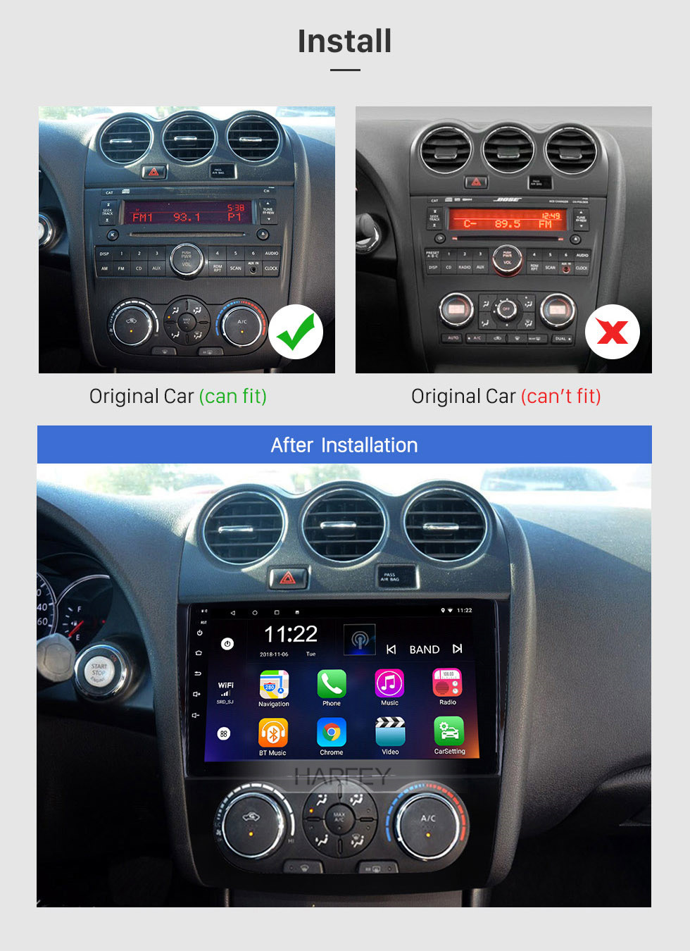 Seicane 9 inch HD Touchscreen Android 8.1 Radio for 2008-2012 Nissan Teana ALTIMA Manual A/C Multimedia Player with GPS Navi WIFI FM USB Bluetooth music support Digital TV SWC  TPMS