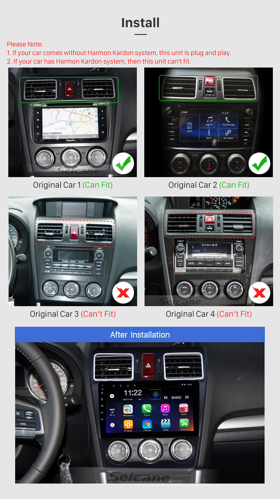 Seicane 9 Inch OEM Android 8.1 Radio Touch Screen Bluetooth GPS Navigation system For 2015 2016 2017 Subaru Forester Support 3G WiFi TPMS DVR OBD II Rear camera USB SD