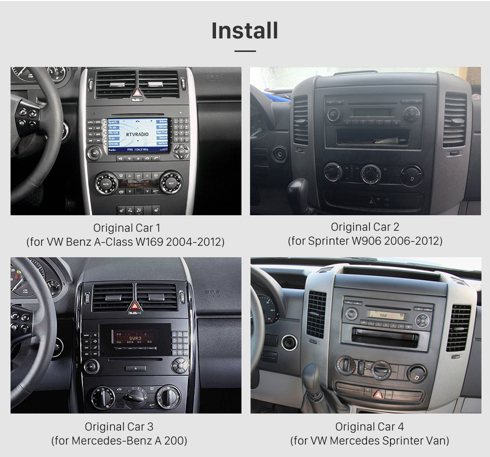 Seicane Android 9.0 Autoradio GPS Car A/V System for 2006-2012 Mercedes Benz Viano Vito with 1024*600 HD Touch Screen CD DVD Player AUX 3G WiFi Bluetooth OBD2 Mirror Link Backup Camera Steering Wheel Control