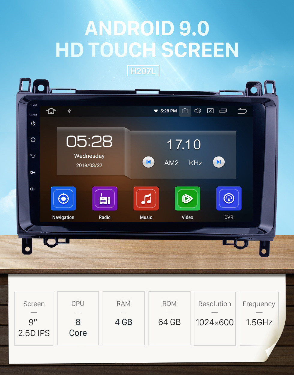 Seicane 9 inch HD 1024*600 Touch Screen Android 9.0 2006-2012 Mercedes Benz Sprinter 211 213 216 218 224 309 311 313 315 316 CDI Autoradio Navigation Head Unit with CD DVD Player Bluetooth AUX 3G WiFi HD 1080P OBD2 Mirror Link Backup Camera