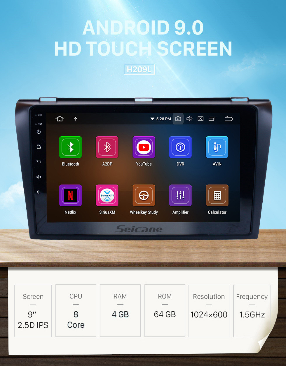 Seicane OEM 2004-2009 Mazda 3 Android 9.0 HD Touchscreen 1024*600 Touchscreen DVD GPS Radio Bluetooth OBD2 DVR Rearview Camera 1080P Steering Wheel Control WIFI