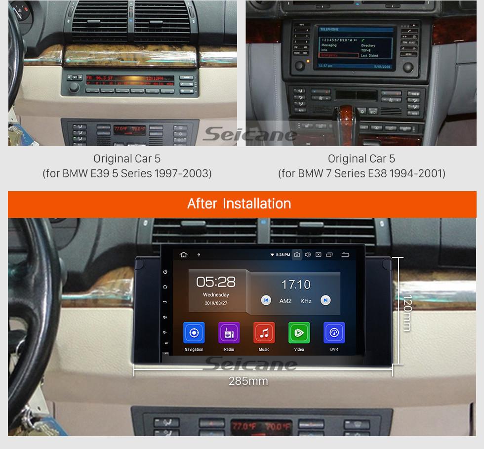 Seicane 9 pouces dans le tableau de bord 1996-2003 BMW Série 5 E39 520i 523i 525i M5 Android 9.0 Système de navigation GPS avec 1024 * 600 Écran tactile 3G WiFi TPMS USB DVR Caméra arrière OBDII AUX