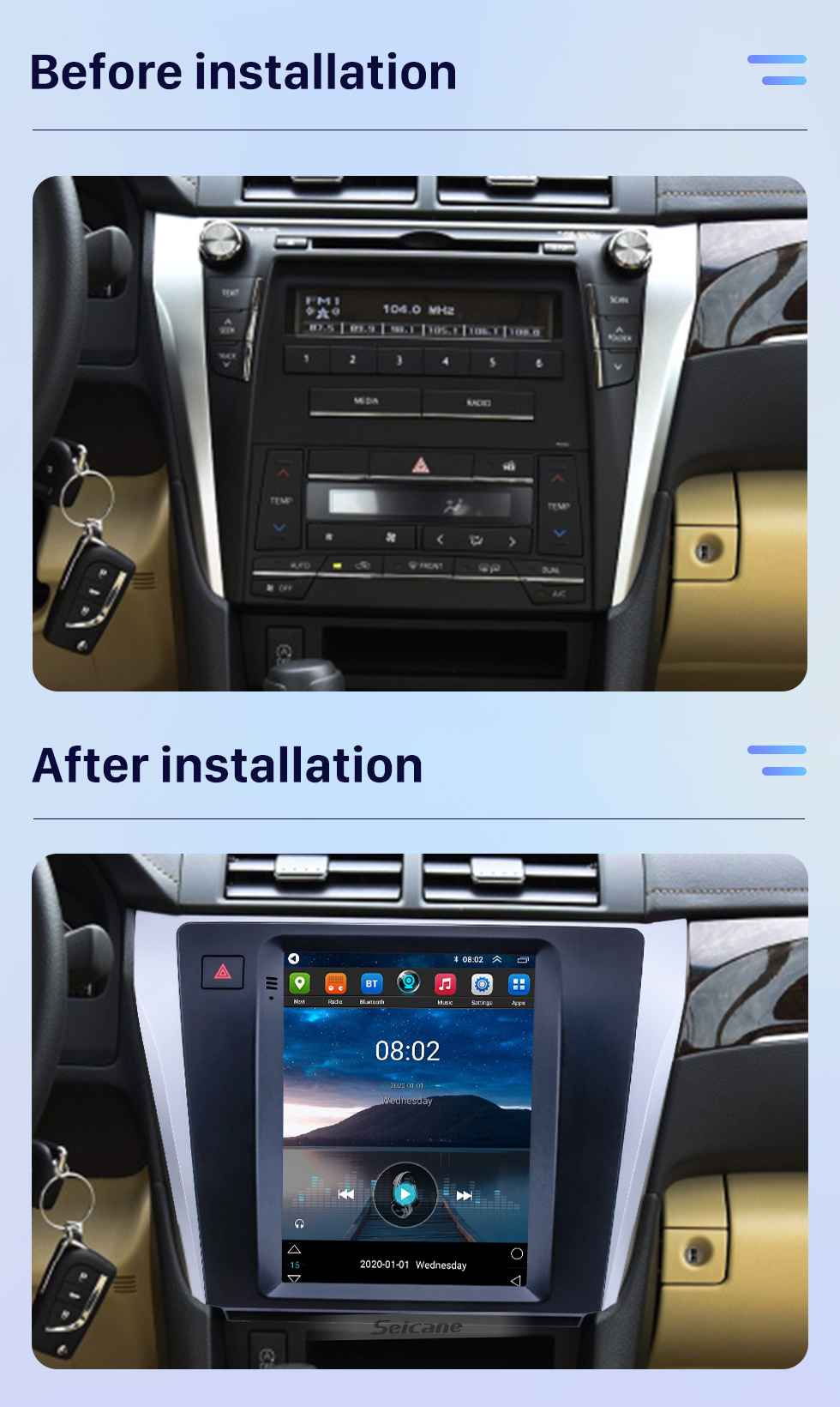 Seicane 9.7 inch Android 10.0 GPS Navigation Radio for 2015-2017 Toyota Camry with HD Touchscreen Bluetooth AUX support Carplay OBD2