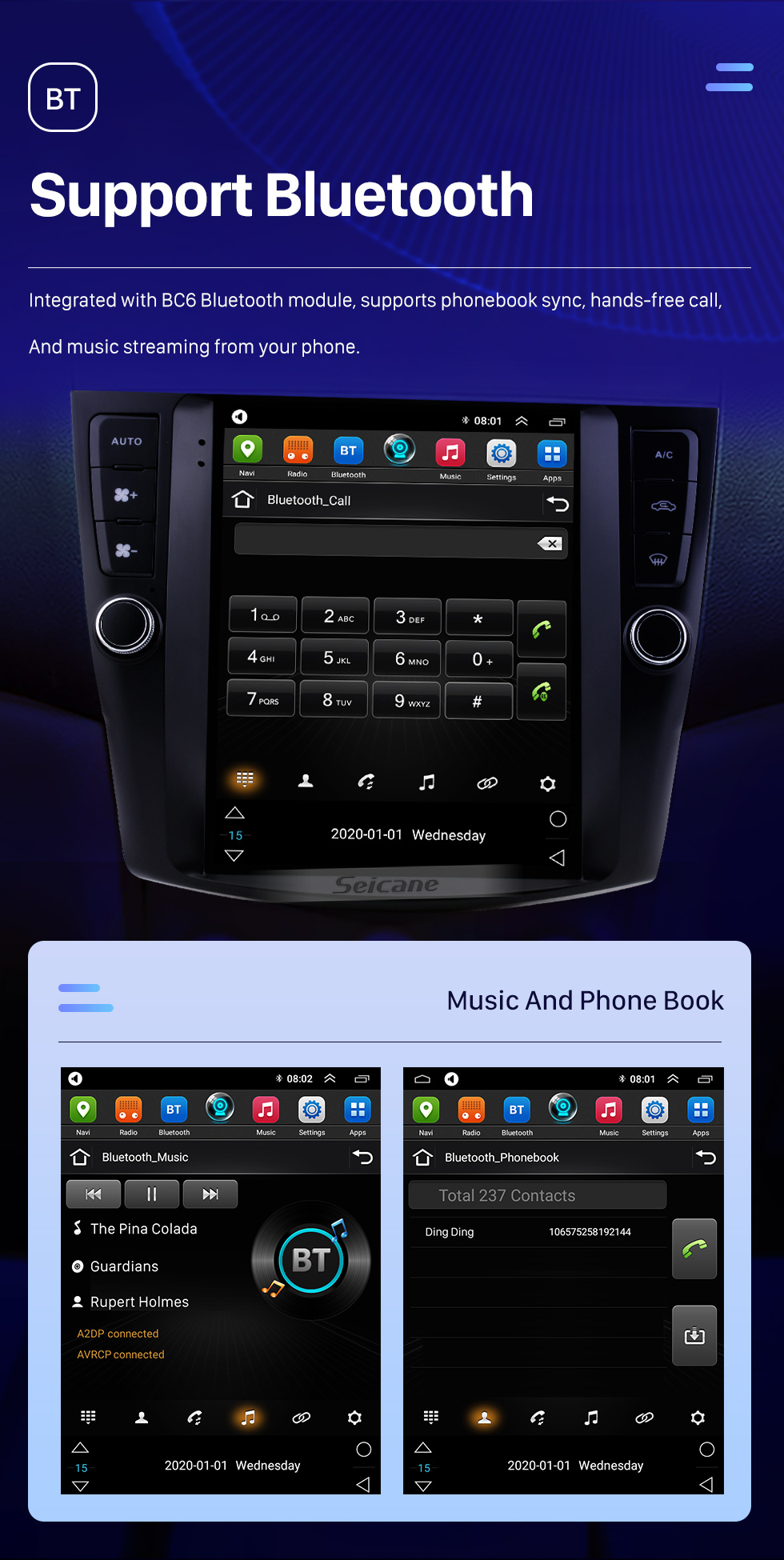 Seicane HD Touchscreen 9.7 inch Android 10.0 Aftermarket GPS Navigation Radio for 2003-2007 Honda Accord 7 with Bluetooth Phone AUX FM Steering Wheel Control support DVD 1080P Video OBD2