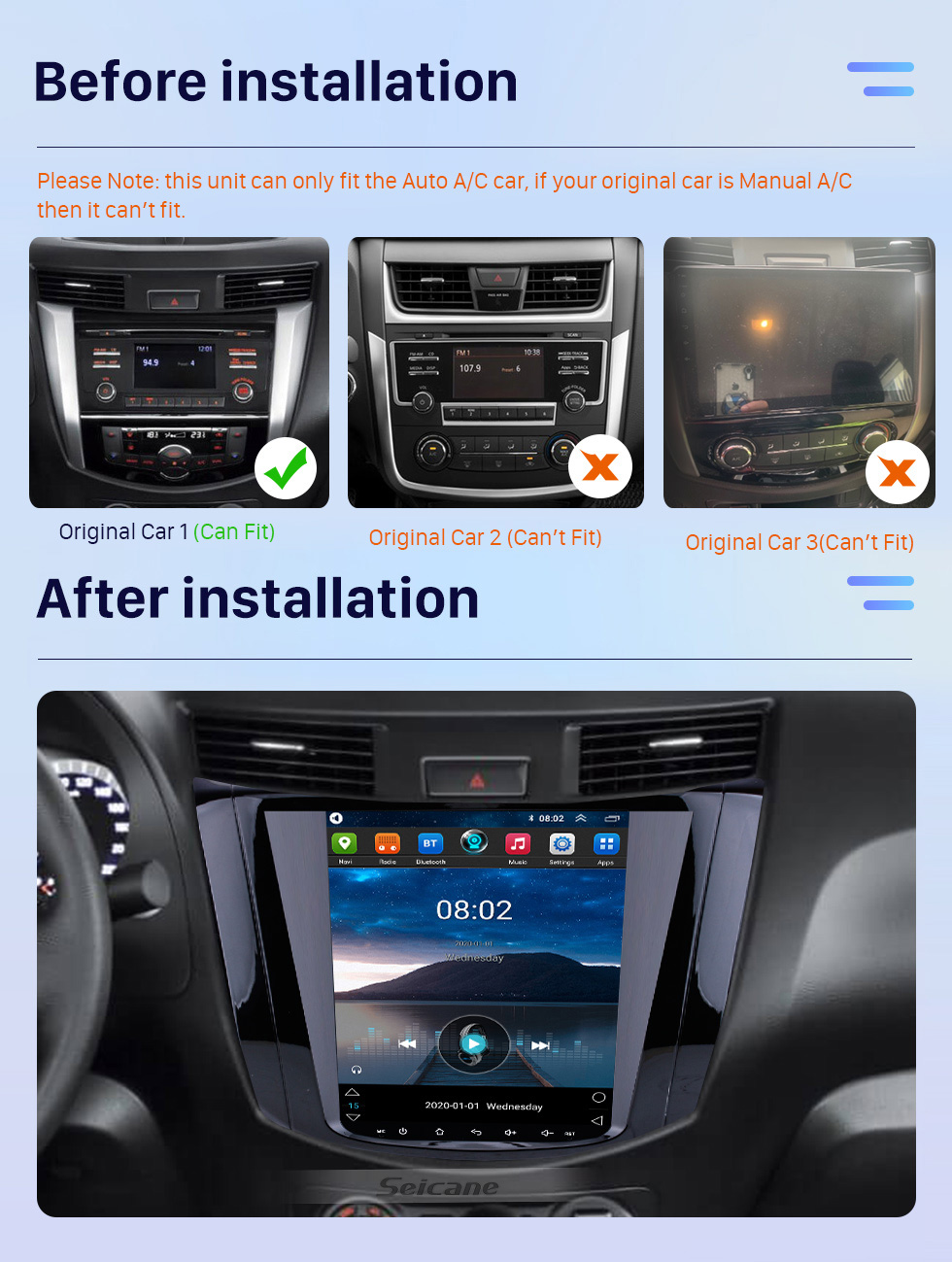 Seicane OEM HD Touchscreen 9.7 inch Android 10.0 Radio for 2018 Nissan NAVARA Terra Auto A/C with GPS Navi System Mirror link Bluetooth music WIFI support 3G OBD2 DVR SWC