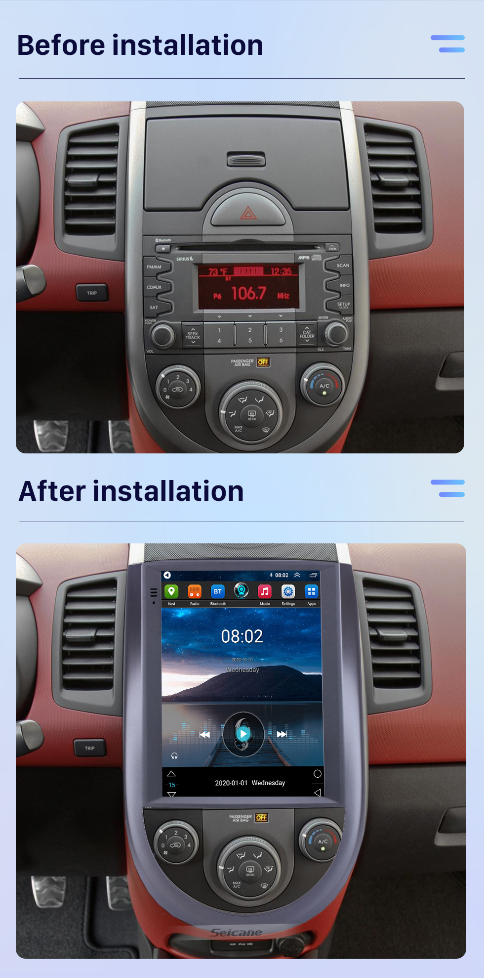 Seicane 2015 Kia Soul 9.7 inch Touchscreen Android 10.0 Multimedia Player Bluetooth GPS Navigation System Wifi FM USB support DVR Steering Wheel Control DVD Player