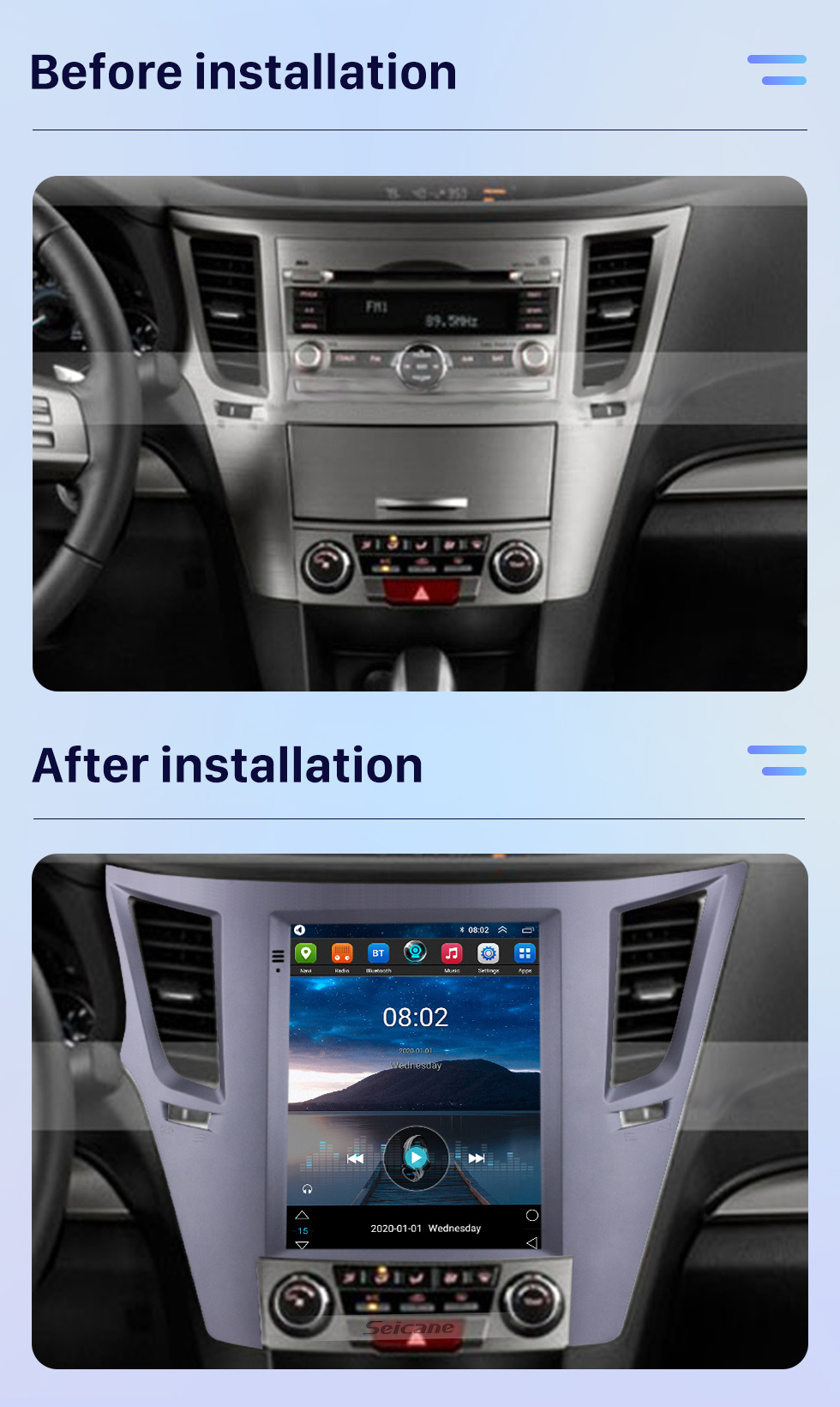 Seicane Aftermarket 9.7 inch Android 10.0 Radio for Subaru Outback 2010-2014 GPS Navigation HD Touchscreen Stereo Bluetooth USB MP4 music Mirror Link SWC 4G WIFI