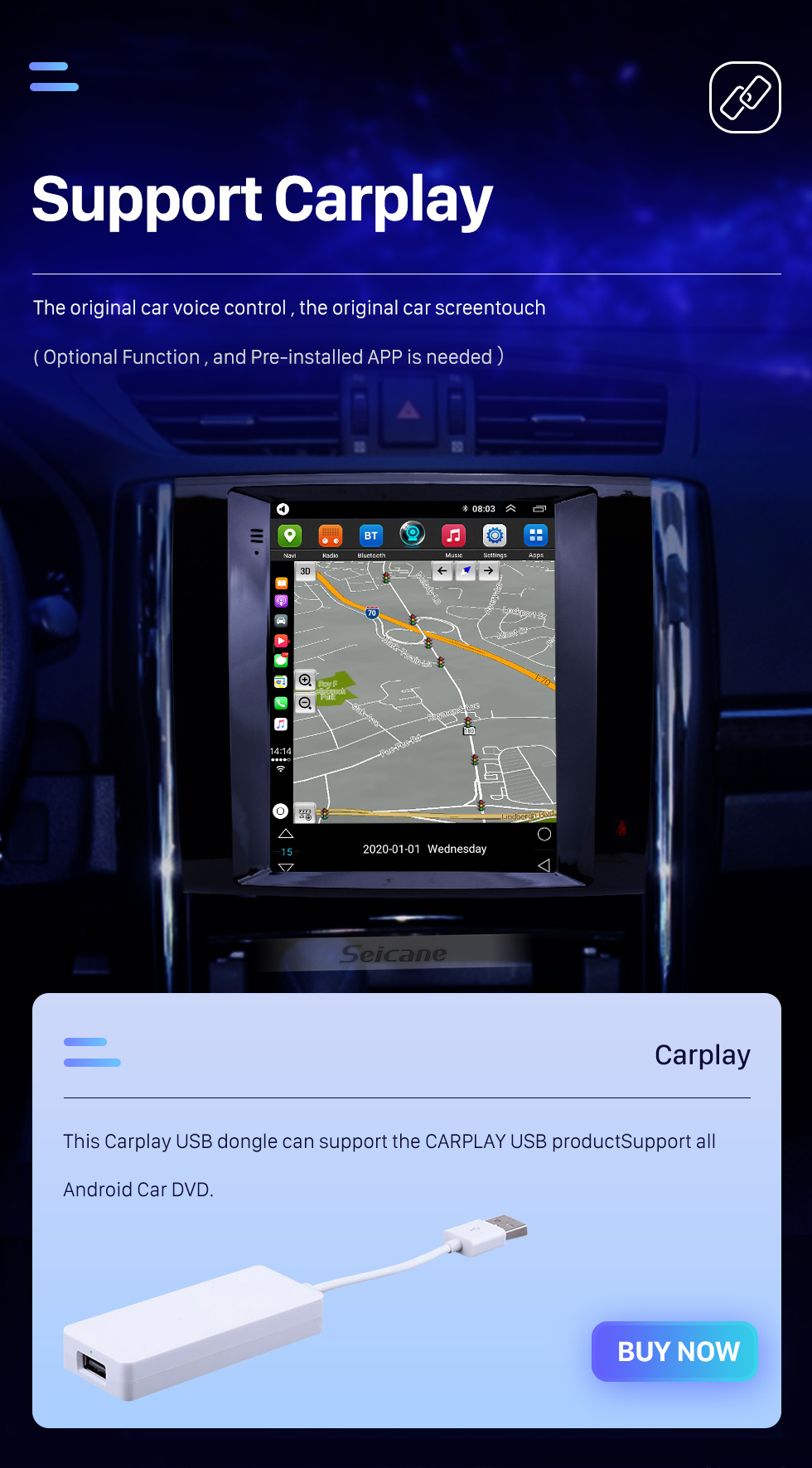 Seicane 9.7 inch Android 10.0 2013 Toyota Reiz GPS Navigation Radio with HD Touchscreen Bluetooth Music support Carplay Mirror Link