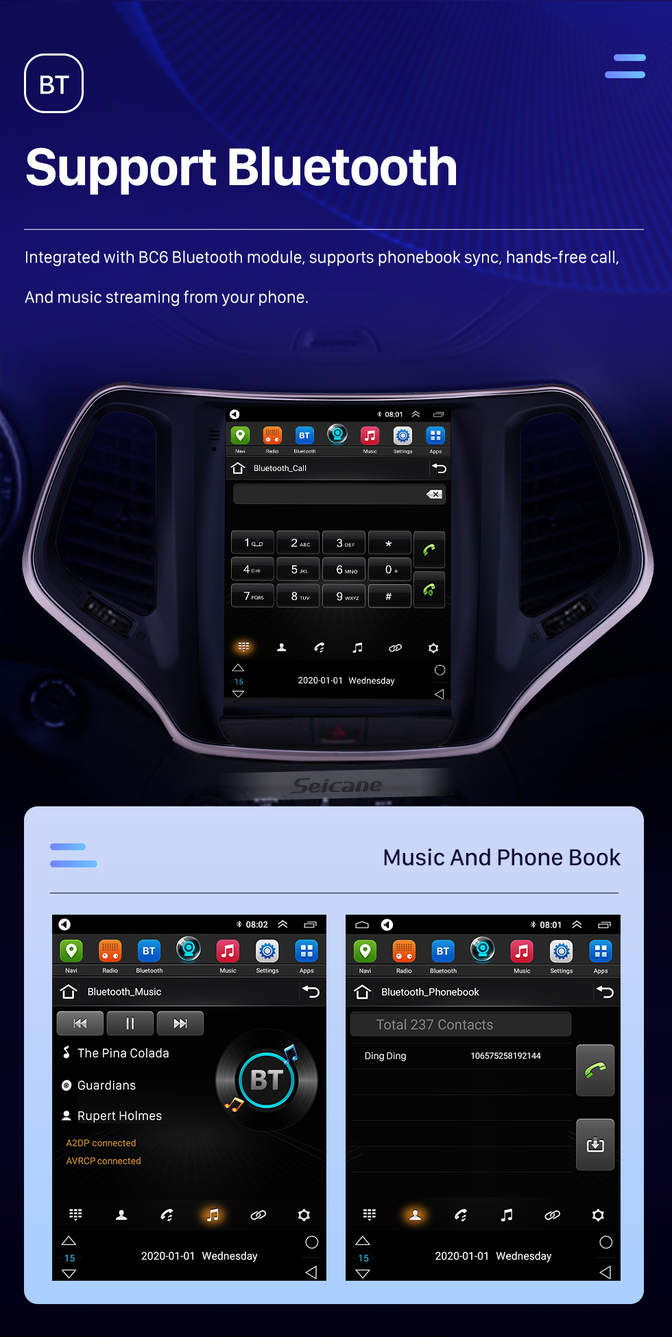 Seicane 9.7 inch HD Touch Screen 2016 2017 2018 Jeep Cherokee Android 10.0 Radio GPS Navigation Bluetooth Music USB WIFI Audio system Support DVR OBD2 TPMS Digital TV