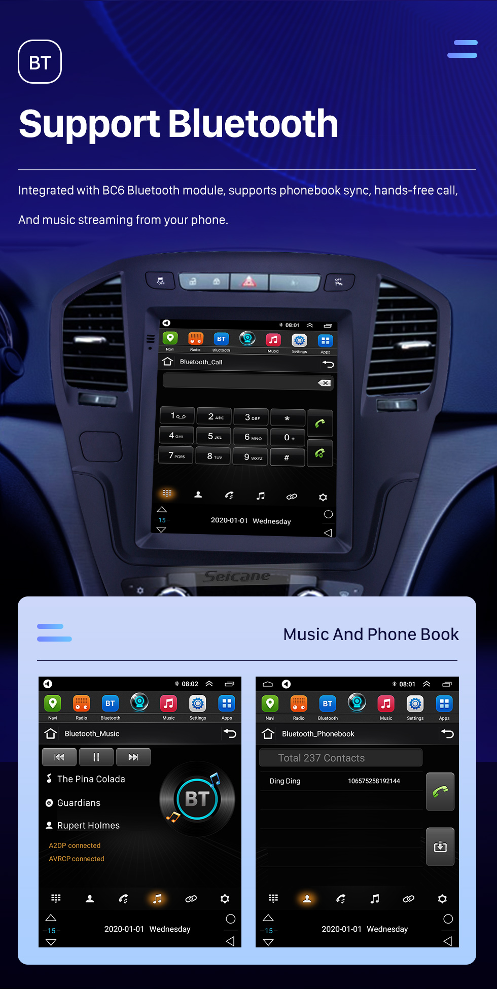 Seicane 2013 Buick Regal HD Touchscreen 9.7 inch Android 10.0 Car Stereo GPS Navigation Radio Bluetooth Music Wifi support OBD2 Rearview Camera SWC DVD 4G