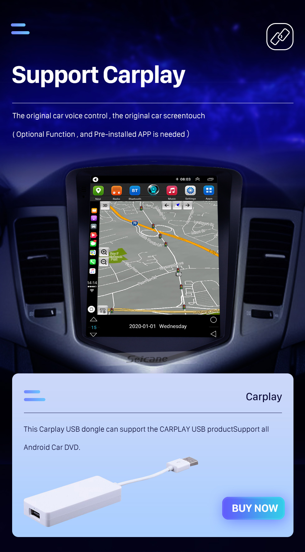 Seicane OEM 9.7 inch Android 10.0 for chevy Chevrolet Classic Cruze 2008-2013 GPS Navigation Radio with Touchscreen Bluetooth WIFI support TPMS Carplay