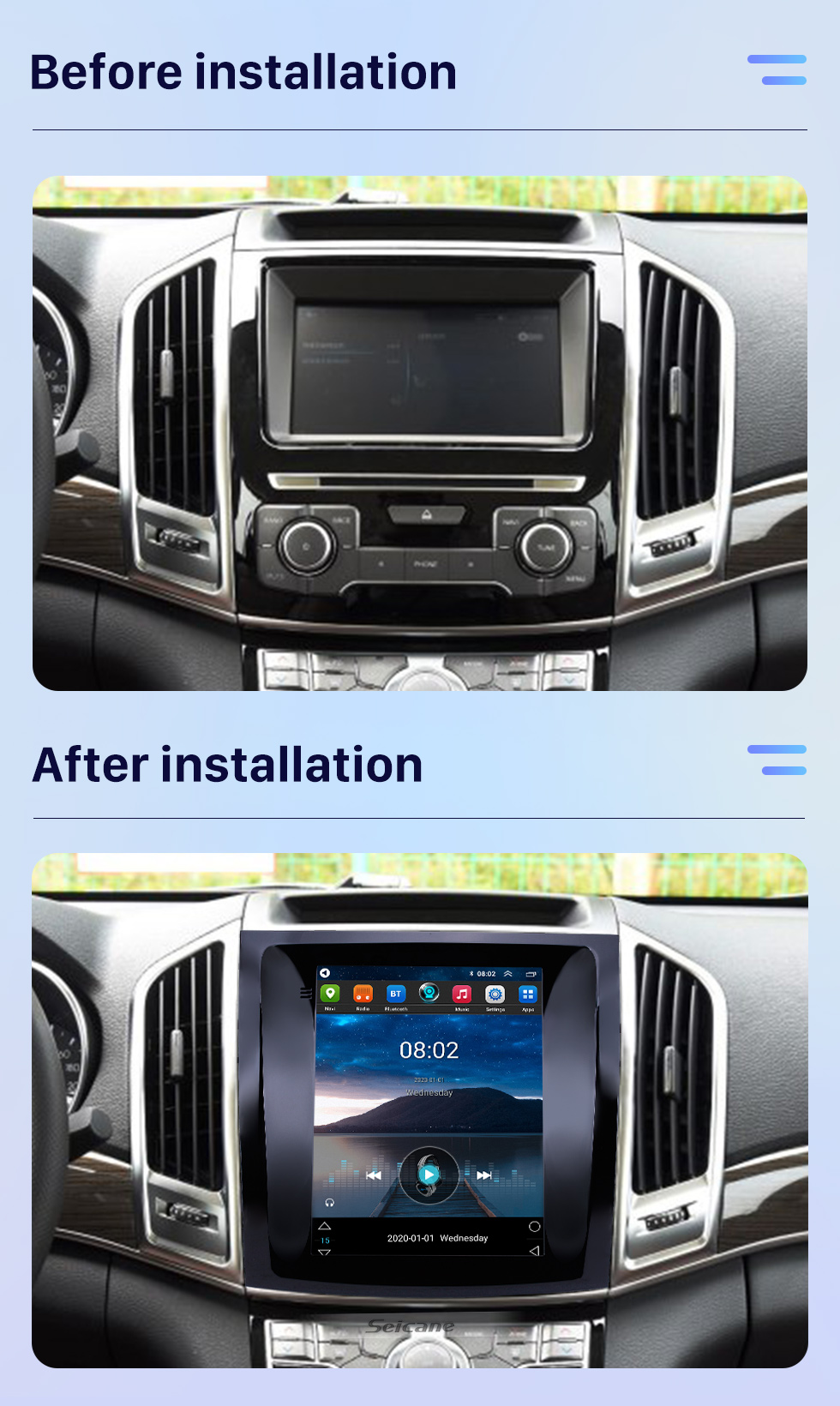 Seicane OEM 9.7 inch Android 10.0 2015-2017 Great Wall Haval H9 GPS Navigation Radio with Touchscreen Bluetooth WIFI support TPMS Carplay DAB+