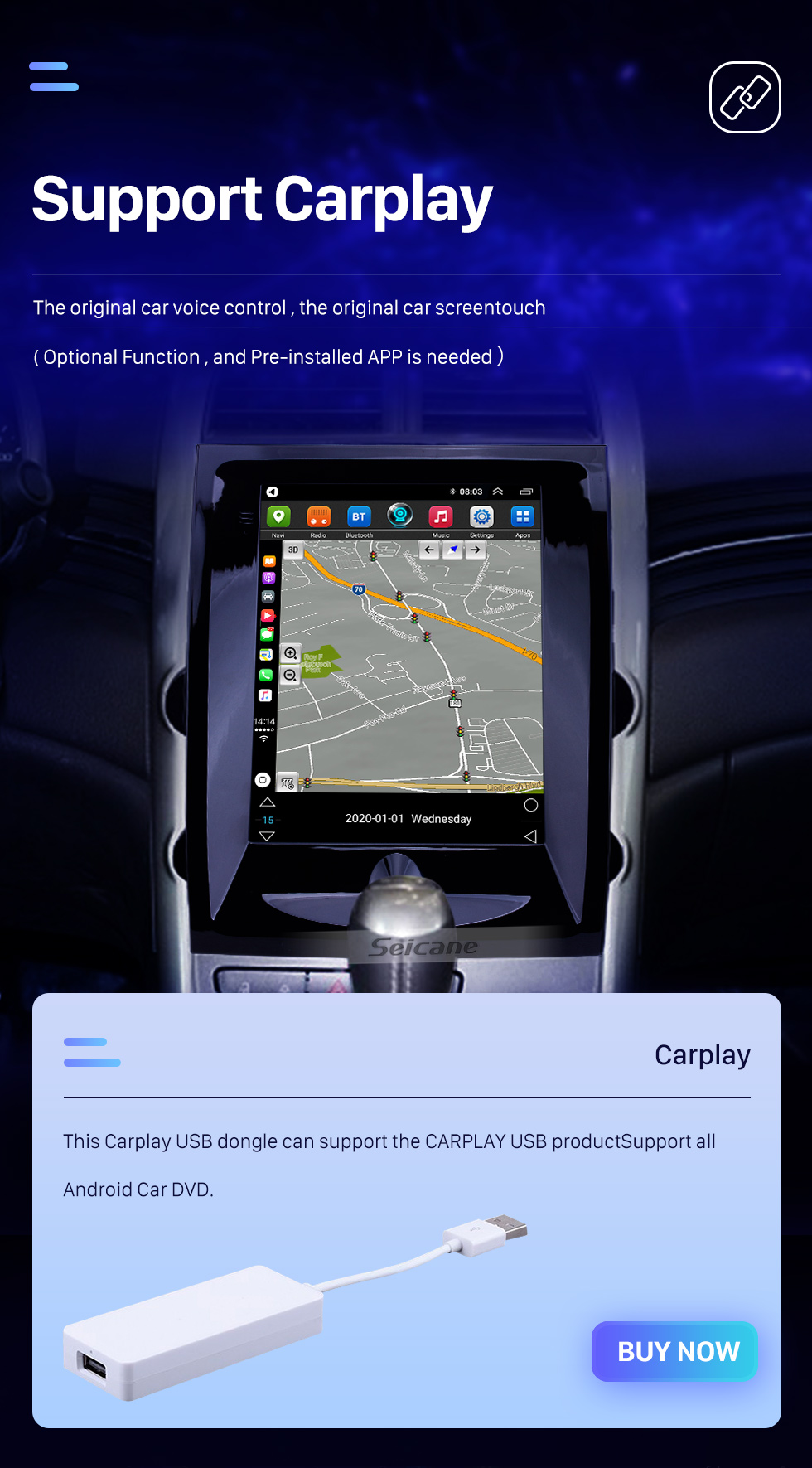 Seicane 2012-2015 Chevy Chevrolet Malibu 9.7 inch Android 10.0 GPS Navigation Radio with HD Touchscreen Bluetooth support Carplay Rear camera