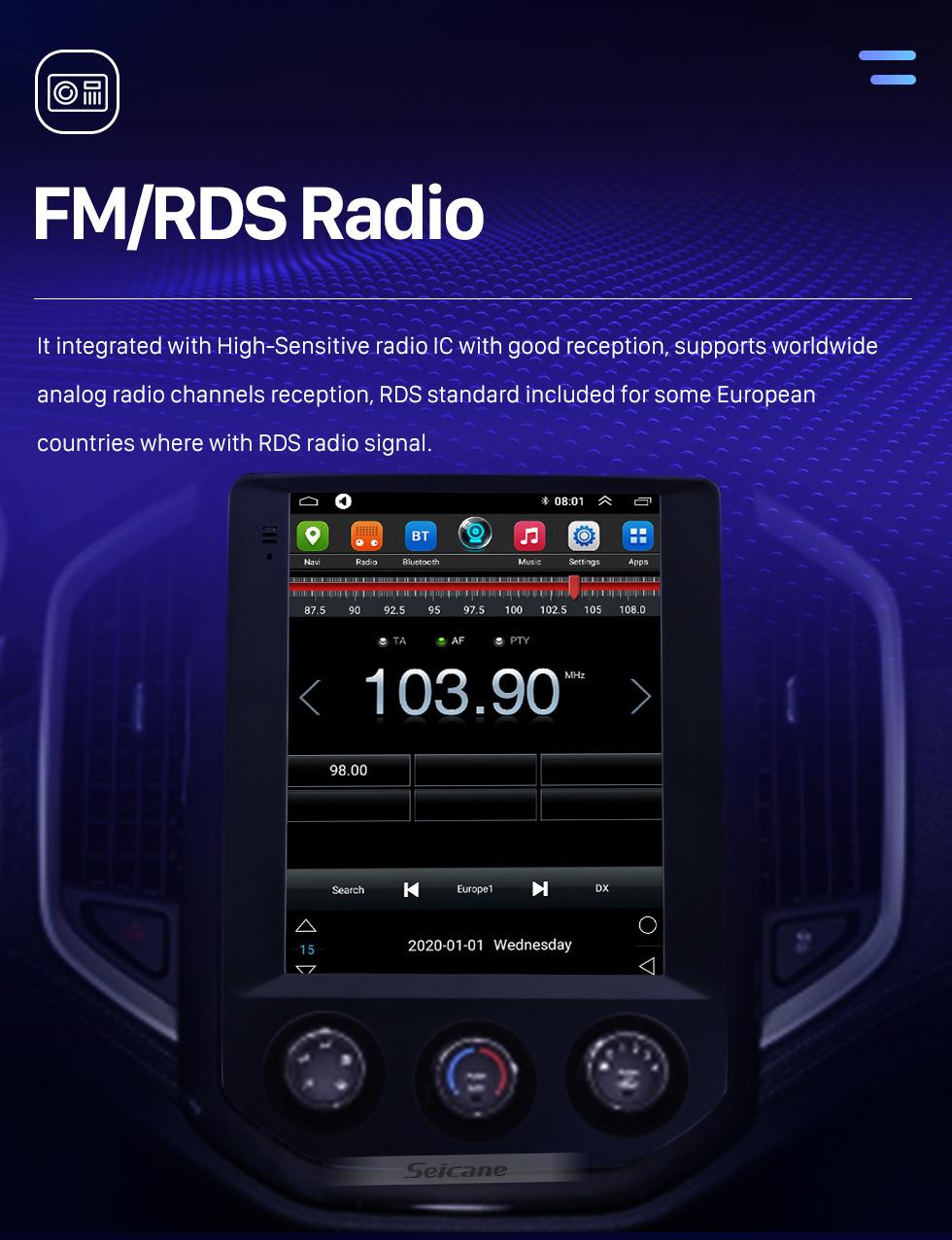 Seicane 2020 SGMW BaoJun 530 9.7 pouces Android 9.1 Radio de navigation GPS avec écran tactile HD Bluetooth WIFI Prise en charge AUX Caméra de recul Carplay