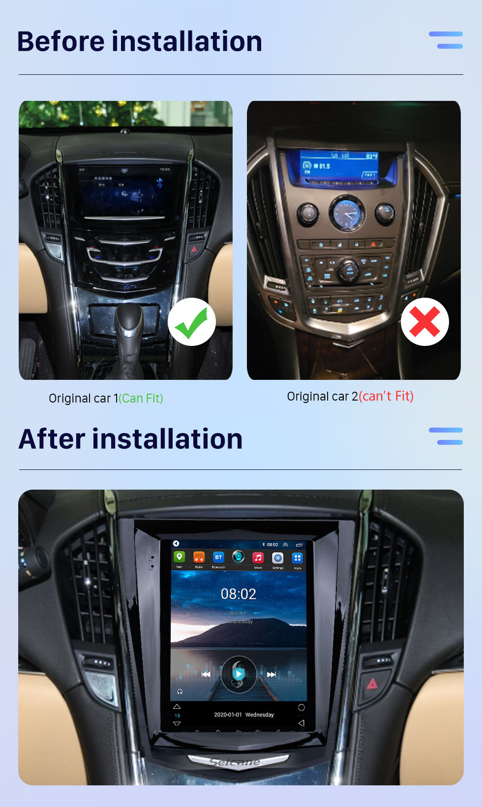 Seicane 9.7 inch HD Touchscreen Android 10.0 car Stereo for Cadillac ATS XTS ATSL SRX CTS 2011-2019 Navigation system BT Wifi Mirror Link USB support DVD Player Carplay 4G