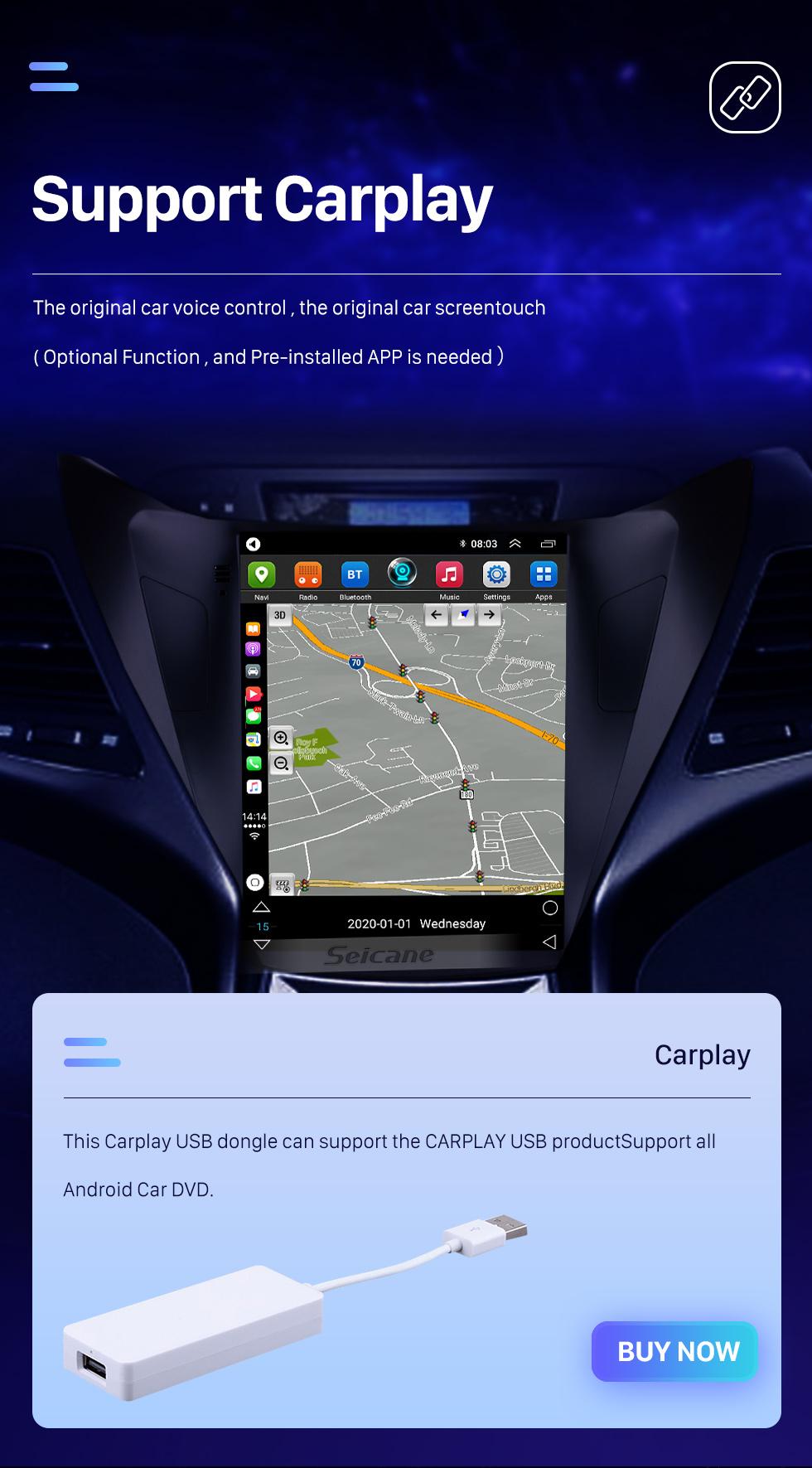 Seicane 2012 2013 2014 Hyundai Avante Elantra 9.7 pouces Android 9.1 HD à écran tactile stéréo Bluetooth Radio de navigation GPS avec Wifi AUX USB Prise en charge de la commande au volant DVR Caméra de recul OBD