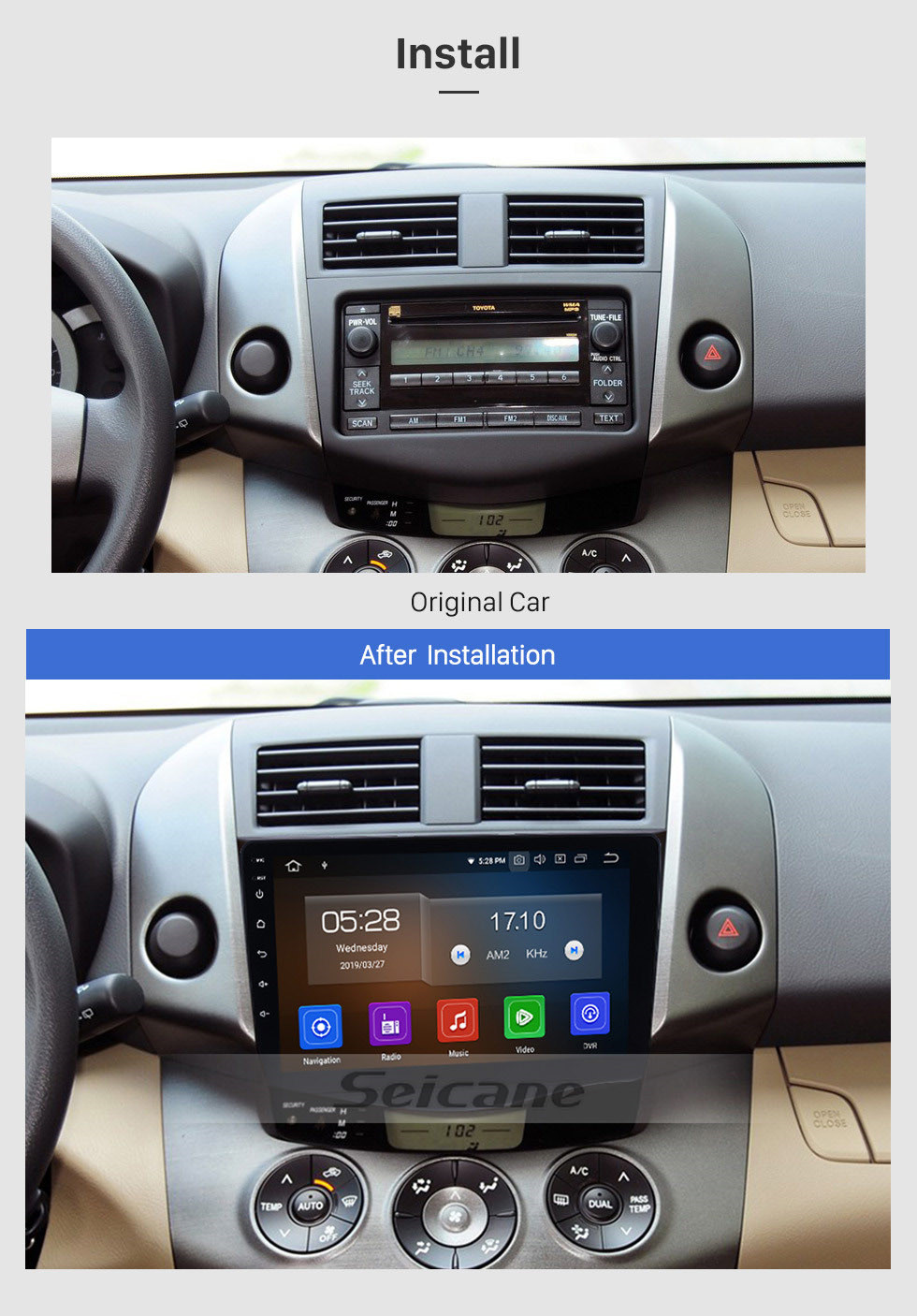 Seicane OEM GPS Navigation Stereo Android 9.0 Multimedia Player for 2007-2011 Toyota RAV4 9 inch HD Touchscreen Radio Bluetooth Phone Music USB Carplay WIFI Steering Wheel Control Rearview AUX