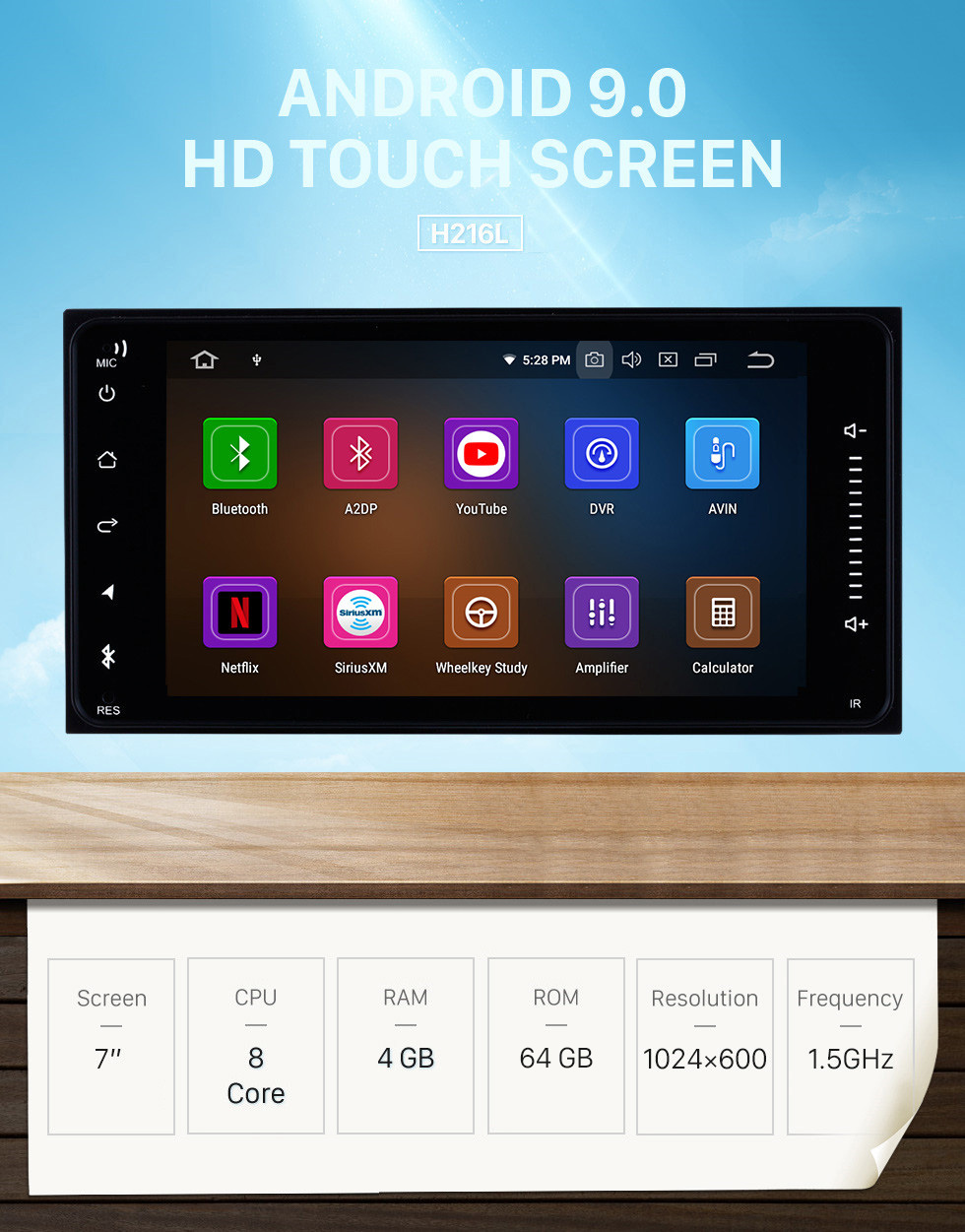 Seicane Toyota Universal Android 9.0 7 inch HD Touch Screen radio Bluetooth GPS Navigation system USB WIFI support TPMS DVR OBD II WiFi Rear camera Steering Wheel Control HD 1080P Video AUX