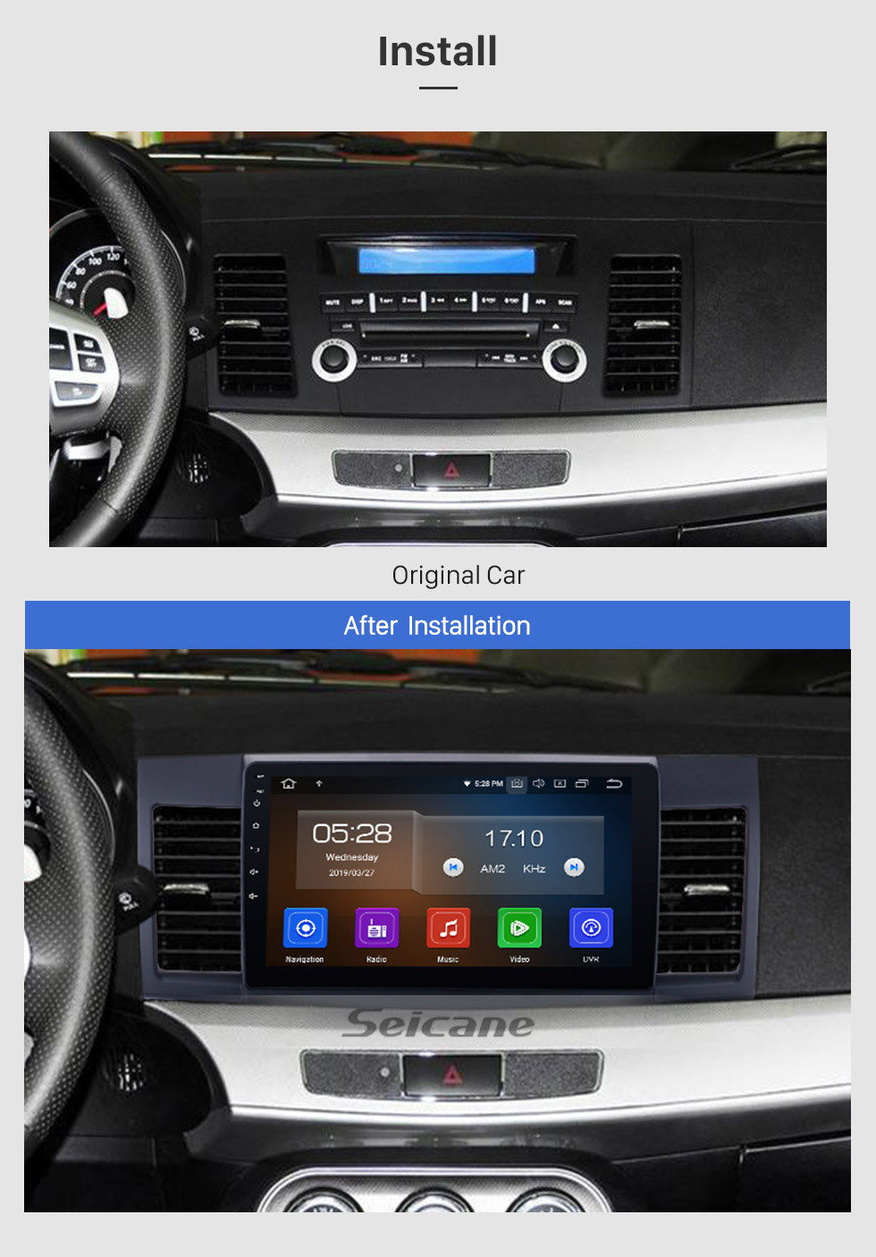 Seicane 2007-2015 Mitsubishi LANCER Android 9.0 Radio DVD player GPS navigation system Bluetooth HD 1024*600 touch screen Mirror link OBD2 DVR Rearview camera TV 1080P Video 3G WIFI Steering Wheel Control USB