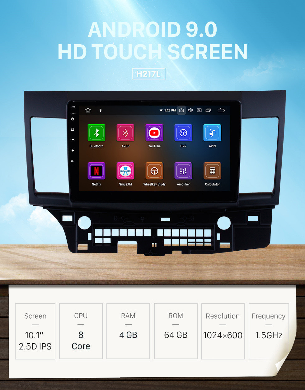 Seicane 2007-2015 Mitsubishi Lancer 10.1 inch Android 9.0 Radio 1024*600 Touchscreen DVD GPS navigation system Mirror link Bluetooth OBD2 DVR Rearview Camera TV 1080P 4G WIFI Steering Wheel Control