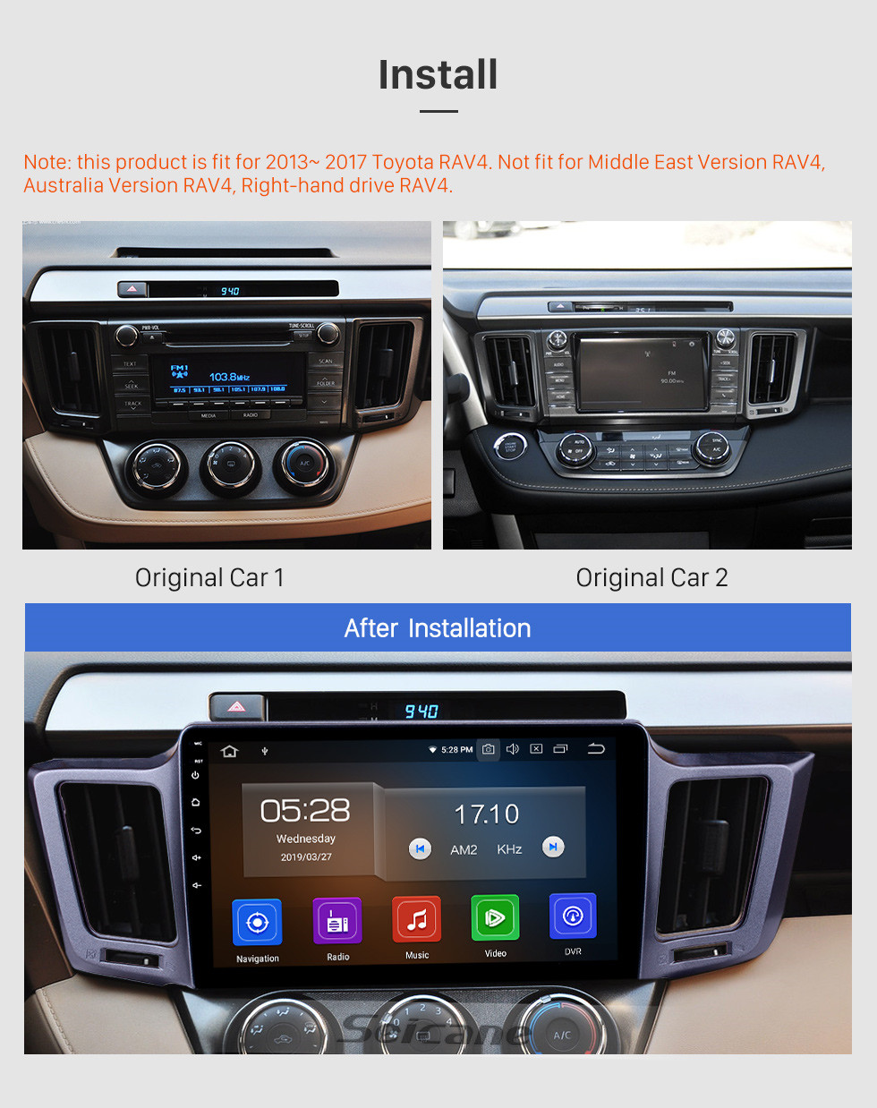 Seicane 10.1 inch Android 9.0 Radio for 2013-2016 Toyota RAV4 LHD with GPS Navigation HD Touchscreen Bluetooth Carplay support Rearview camera DAB+