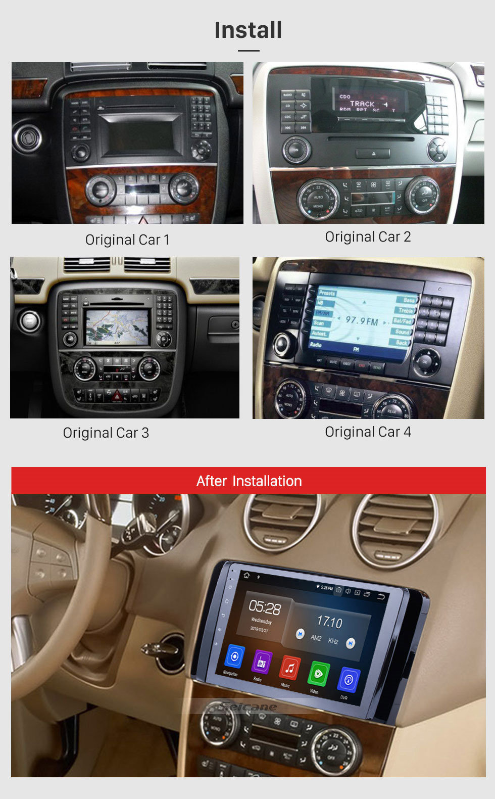Seicane 9 Inch OEM Android 9.0 Radio Capacitive Touch Screen For 2006-2013 Mercedes Benz R Class W251 R280 R300 R320 R350 R63 Support 3G WiFi Bluetooth GPS Navigation system TPMS DVR OBD II AUX Headrest Monitor Control Video Rear camera USB SD