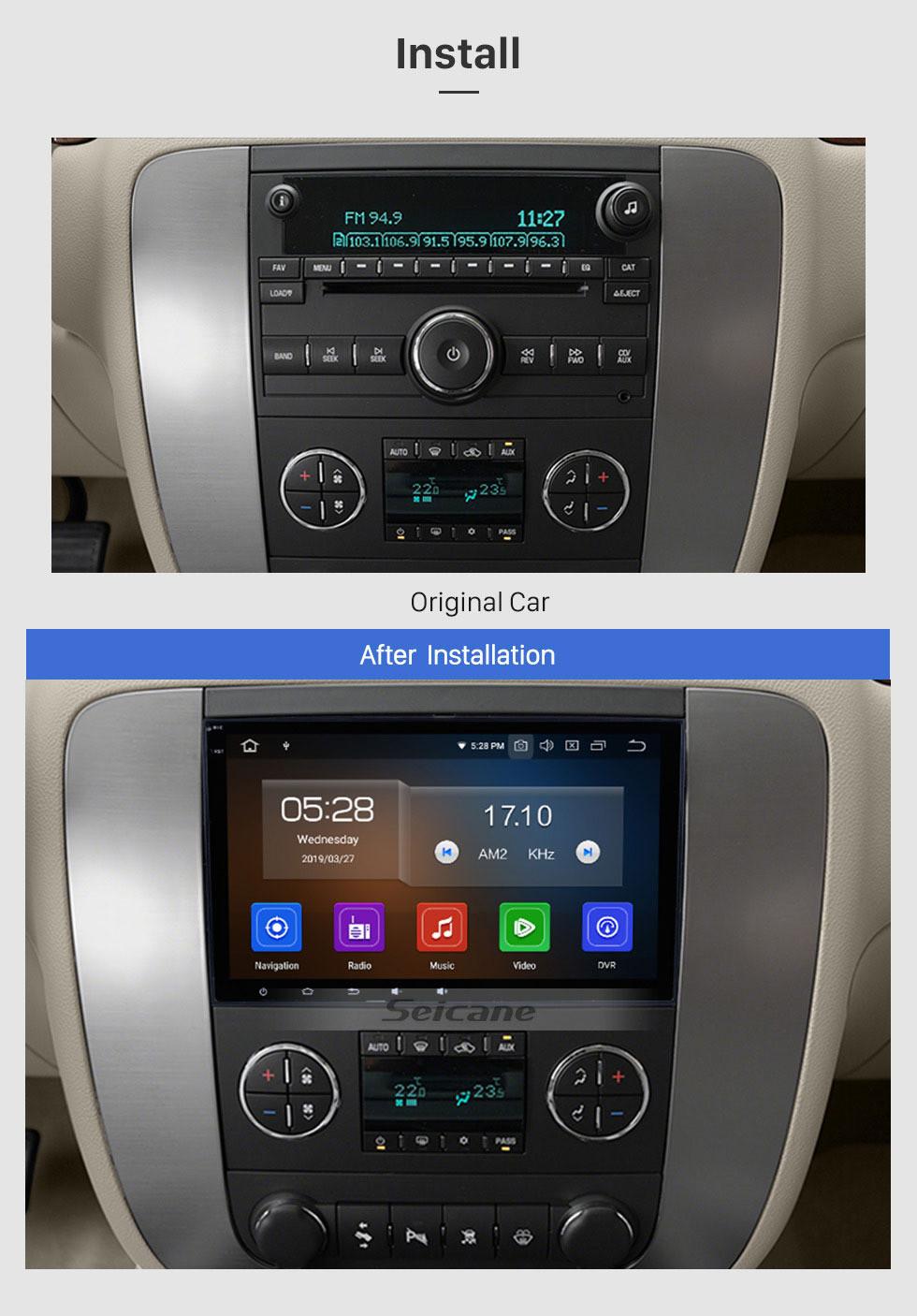 Seicane Android 9.0 2007 2008 2009 2010 2011 GMC Sierra 8 Inch HD Touchscreen Car Radio Head Unit GPS Navigation Music Bluetooth WIFI Support 1080P Video Backup Camera DAB+ DVR Steering Wheel Control