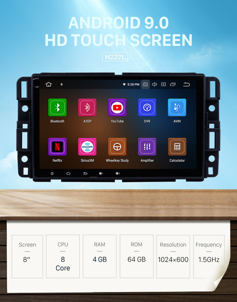 Seicane 8 Inch Android 9.0 Aftermarket Radio HD Touchscreen Head Unit For 2007 2008 2009 2010 2011 GMC Yukon Denali Car Stereo GPS Navigation System Bluetooth Phone WIFI Support OBDII DVR USB Steering Wheel Control Backup Camera