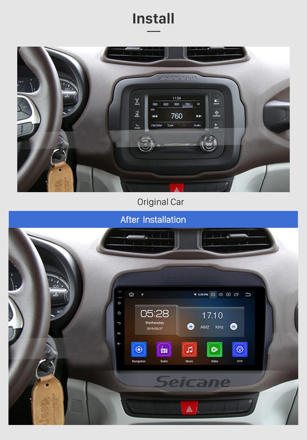 Seicane 9 дюймов 2016 Jeep RENEGADE HD Сенсорный экран Android 9.0 Радио GPS-навигационная система Поддержка 3G WIFI Bluetooth Управление рулевым колесом DVR AUX OBD2 Задняя камера