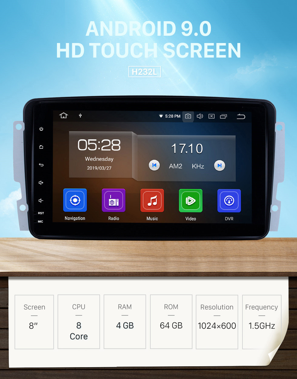 Seicane 8 inch Android 9.0 2000-2005 Mercedes-Benz C-Class W203 C180 C200 C220 C230 C240 Bluetooth GPS Navigation Car Radio Support 3G WIFI DVR Rearview Camera Digital TV Steering Wheel Control