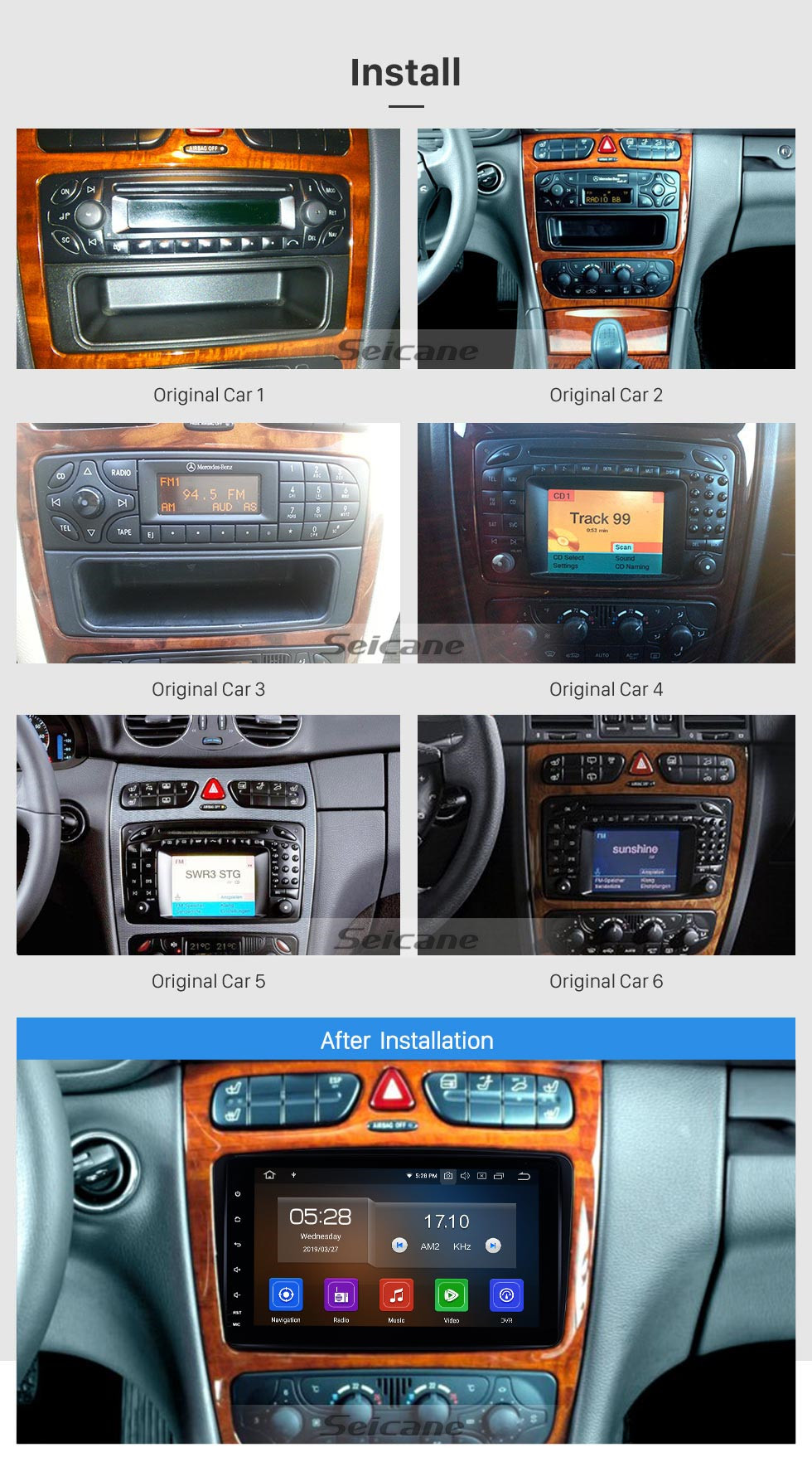 Seicane In dash Radio 1998-2004 Mercedes-Benz G Class W463 G550 G500 G400 G320 G270 G55 Android 9.0 GPS Navigation Bluetooth WIFI 1080P USB Audio system Support Backup Camera DVR OBD2 TPMS