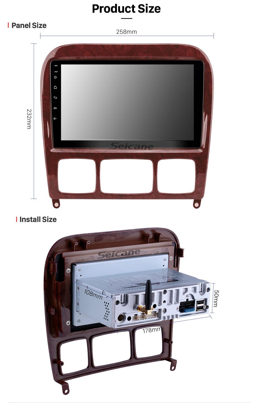 Seicane Android 9.0 Radio HD con pantalla táctil Navegación GPS para 1998-2005 Mercedes-Benz CL-Class W215 (CL600, CL550, CL55 AMG) con Bluetooth Música Audio Aux USB WIFI Control del volante Enlace espejo 1080P