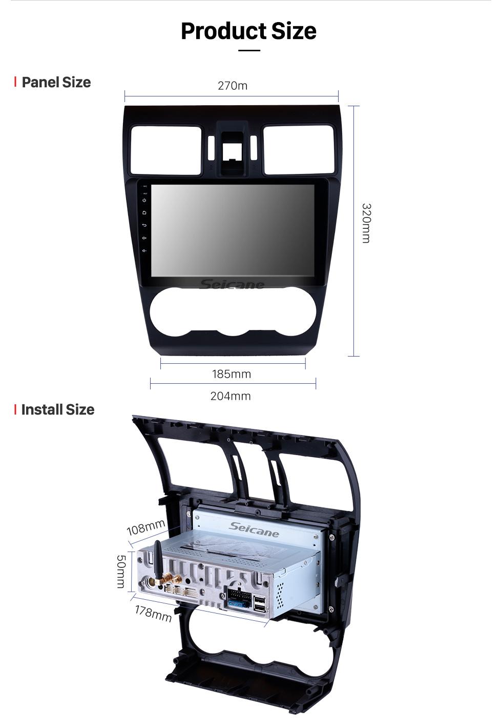 Seicane 9-дюймовый HD Android 9.0 Радио емкостный сенсорный экран для 2014 2015 2016 Поддержка Subaru Forester 3G WiFi Bluetooth GPS Навигационная система TPMS DAB DVR OBD II AUX Подголовник Монитор Управление Видео Задняя камера USB SD