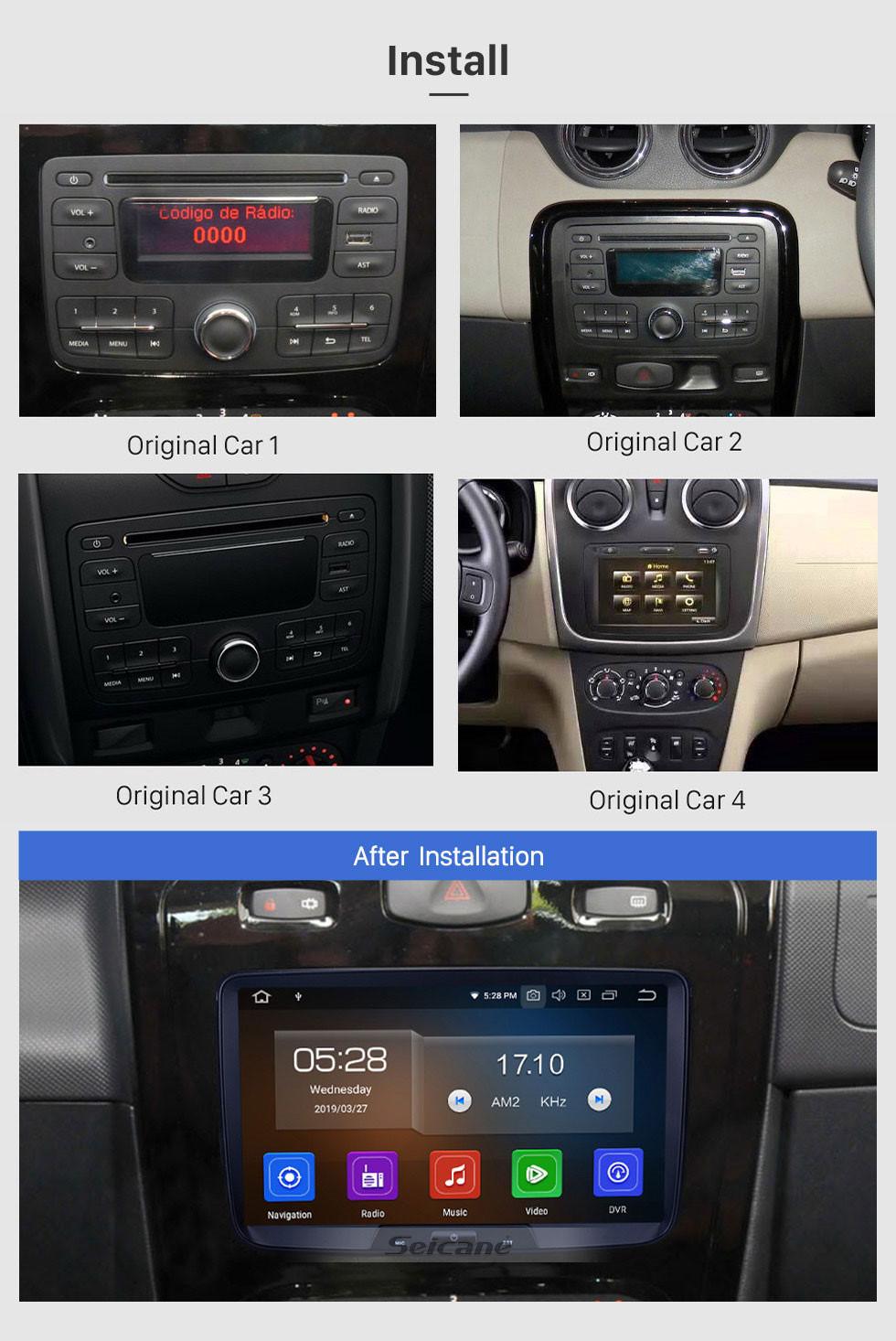 Seicane OEM Android 9.0 HD 1024 * 600 système de navigation GPS à écran tactile pour 2014 2015 2016 RENAULT Duster Deckless avec Radio Lecteur DVD Bluetooth Musique OBD2 DVR Caméra de recul TV 1080P Vidéo 3G WIFI Commande au volant Lien USB miroir