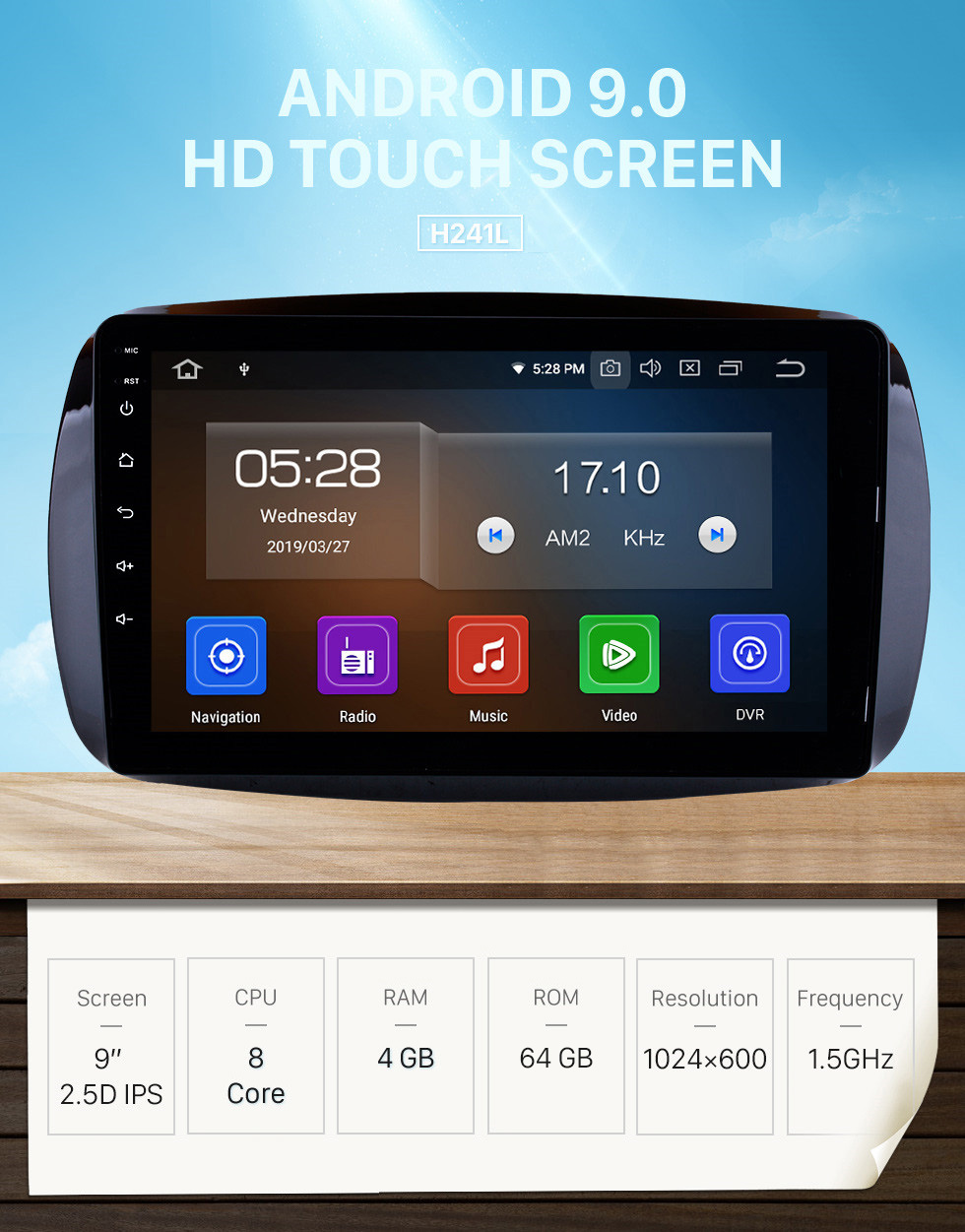 Seicane 9 Inch Android 9.0 HD 1024*600 Touchscreen Radio For 2015 2016 Mercedes Benz SMART Car Stereo GPS Navigation System Bluetooth Support Mirror Link OBD2 AUX 3G WiFi DVR 1080P Video Steering Wheel Control