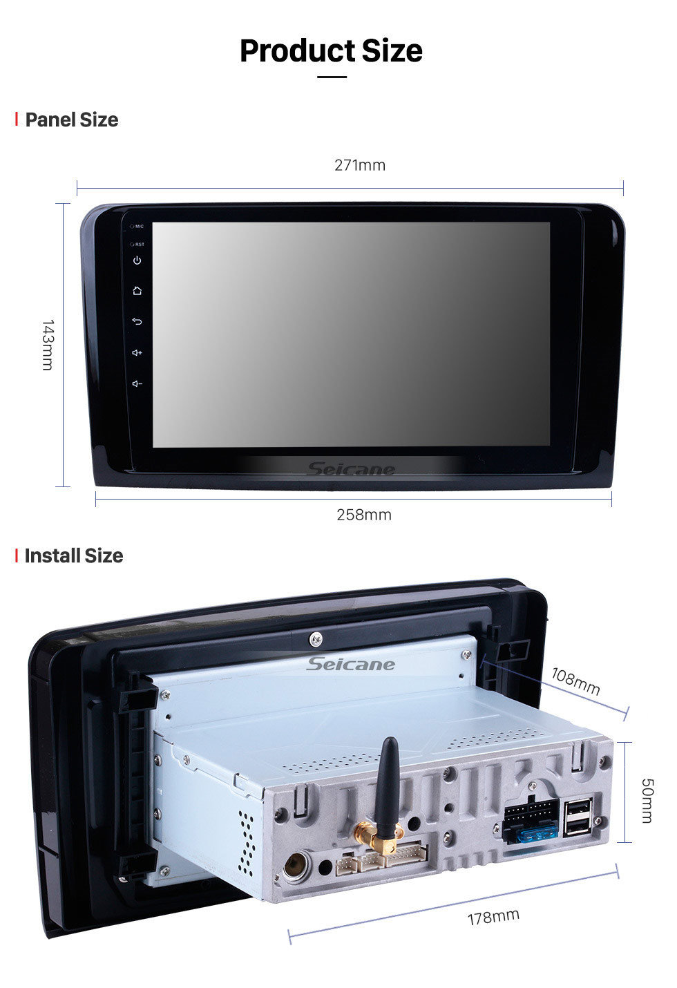Seicane 2005-2012 Mercedes Benz ML Class W164 ML280 ML300 ML320 ML350 ML420 ML450 ML500 ML550 ML63 Radio Removal with Android 9.0 GPS Navigation Stereo 1024*600 Multi-touch Capacitive Screen DVD Mirror Link OBD2 Bluetooth 4G WiFi