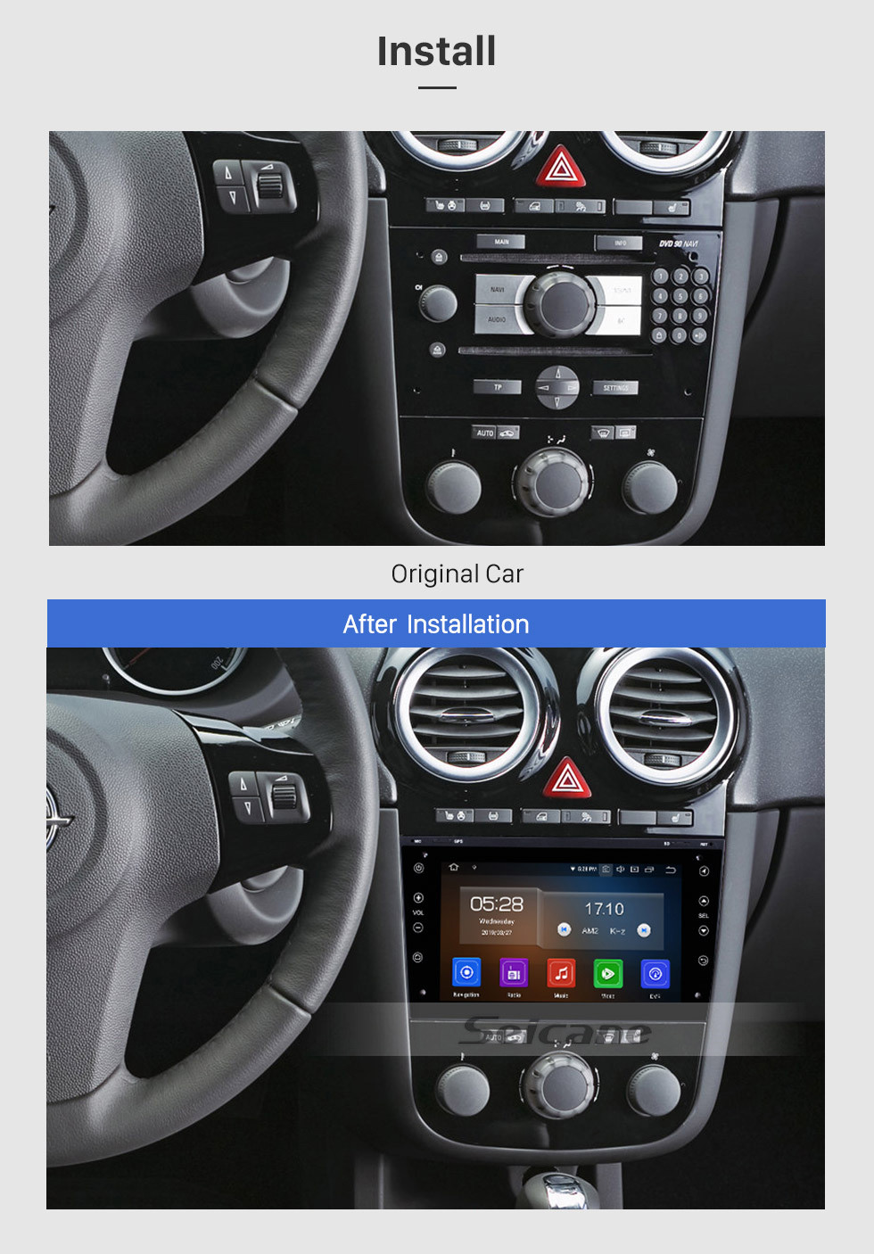 Seicane In dash Radio GPS Navigation Stereo Upgrade for 2006 2007 2008-2011 Opel Corsa Android 9.0 Bluetooth WIFI USB  RDS Audio system Support OBD2 1080P DVR Auto A/V