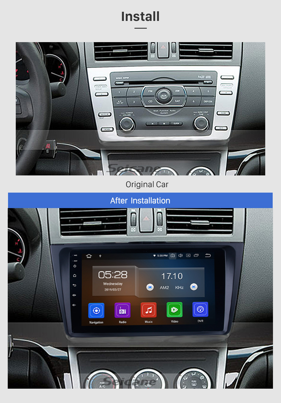 Seicane 9 inch Android 9.0 Radio GPS Navigation System Auto Stereo for 2008-2015 Mazda 6 Ruiyi with full 1024*600 Touchscreen Bluetooth Mirror link 3G WIFI support TPMS OBD2 DVR Rearview camera Steering Wheel Control