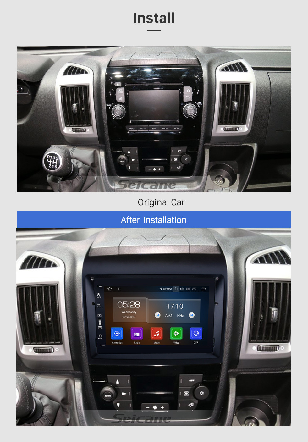Seicane 2007-2016 Fiat Ducato Aftermarket 7 Zoll Android 9.0 Radio DVD Multimedia Player GPS Navigationssystem Upgrate Headunit mit Bluetooth Musik 3G Wifi Spiegel Link Lenkradsteuerung Rückfahrkamera DVR OBD2 DAB +