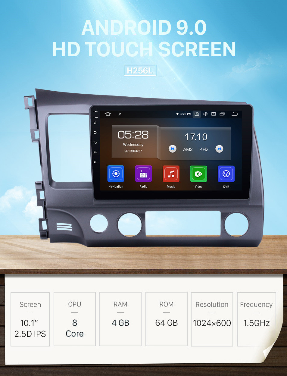 Seicane 10.1 Inch 1024*600 Touchscreen Android 9.0 2006-2011 Honda civic Radio GPS Navigation System with Bluetooth 4G WIFI Steering Wheel Control Digital TV Mirror Link OBD2 DVR Backup Camera TPMS