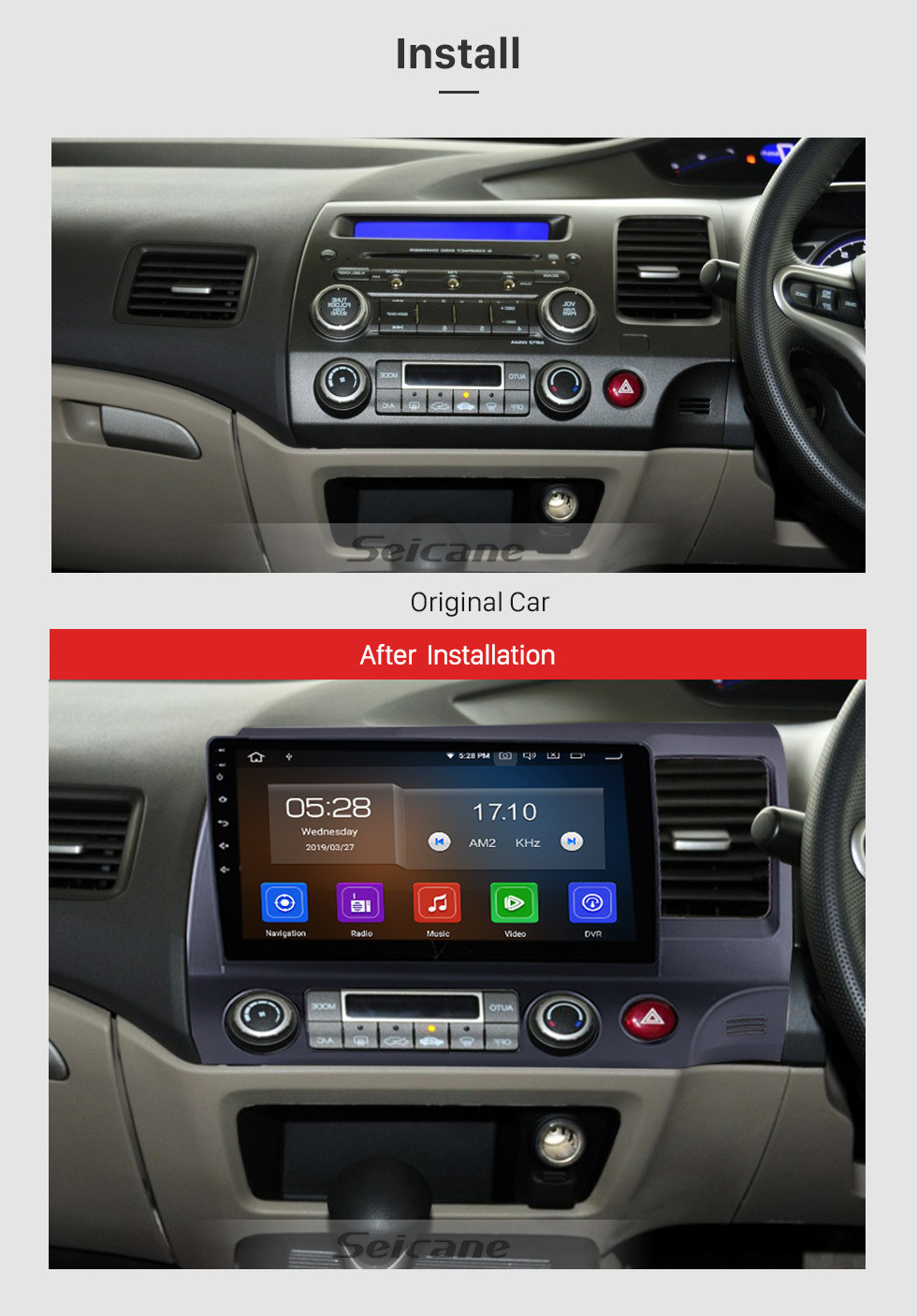 Seicane OEM Android 9.0 2006-2011 Honda CIVIC RHD Radio Upgrade with Autoradio Bluetooth GPS System 1024*600 Multi-touch Capacitive Screen CD DVD Player 3G WiFi Mirror Link OBD2 Auto AV in/out USB SD MP3 MP4 AUX DVR Reverse Camera