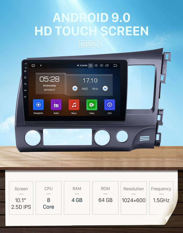 Seicane OEM Android 9.0 2006-2011 Honda CIVIC RHD Radio Upgrade mit Autoradio Bluetooth GPS System 1024 * 600 Kapazitiver Multitouch-Bildschirm CD DVD-Player 3G WiFi Spiegel Link OBD2 Auto-AV-Eingang / -Ausgang USB SD MP3 MP4 AUX DVR Rückfahrkamera