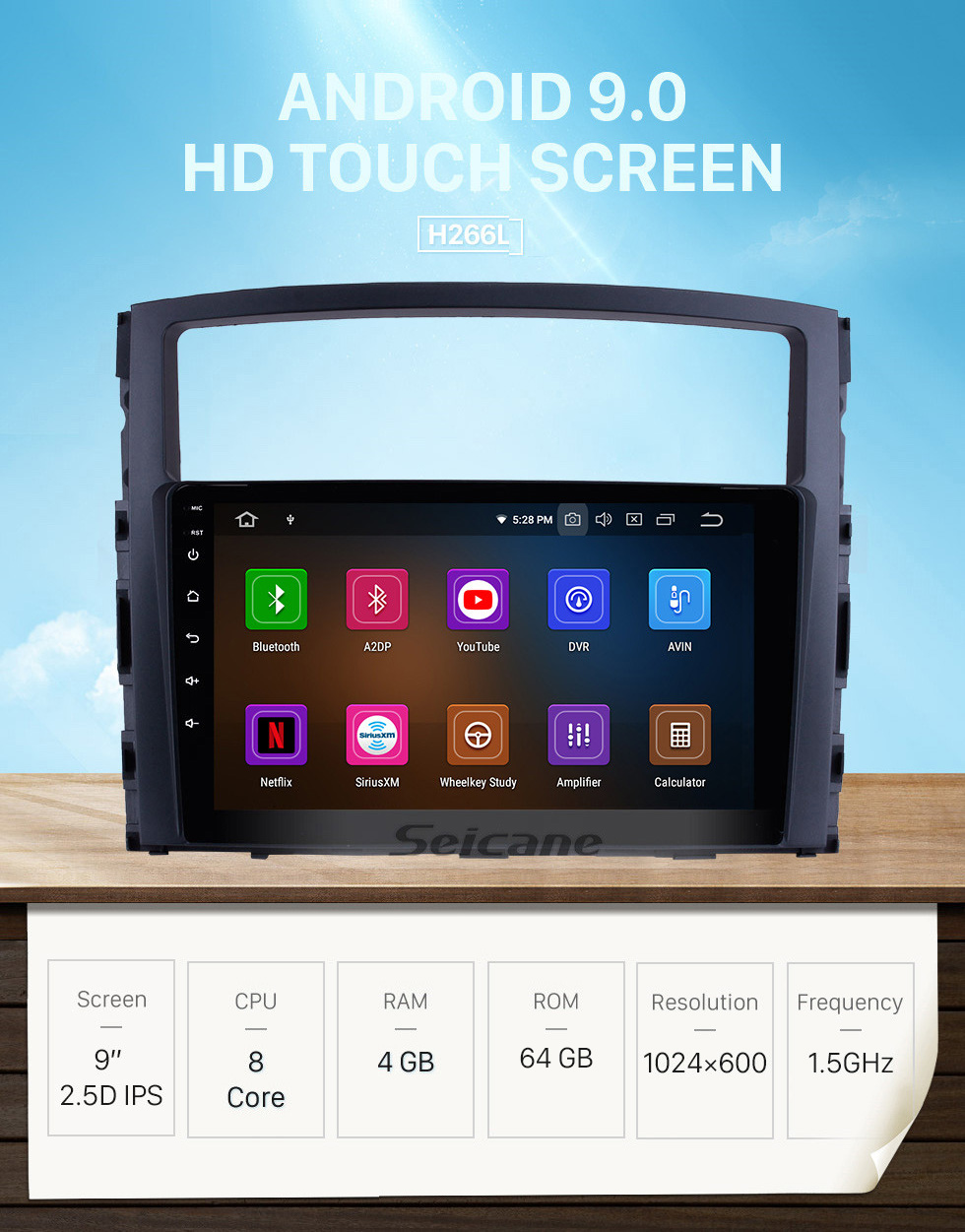 Seicane 9 inch Android 9.0 HD Touch Screen Radio GPS Navigation System for 2006-2017 MITSUBISHI PAJERO V97/V93 Support Bluetooth USB 3G/4G WIFI OBD2 Mirror Link Rearview Camera