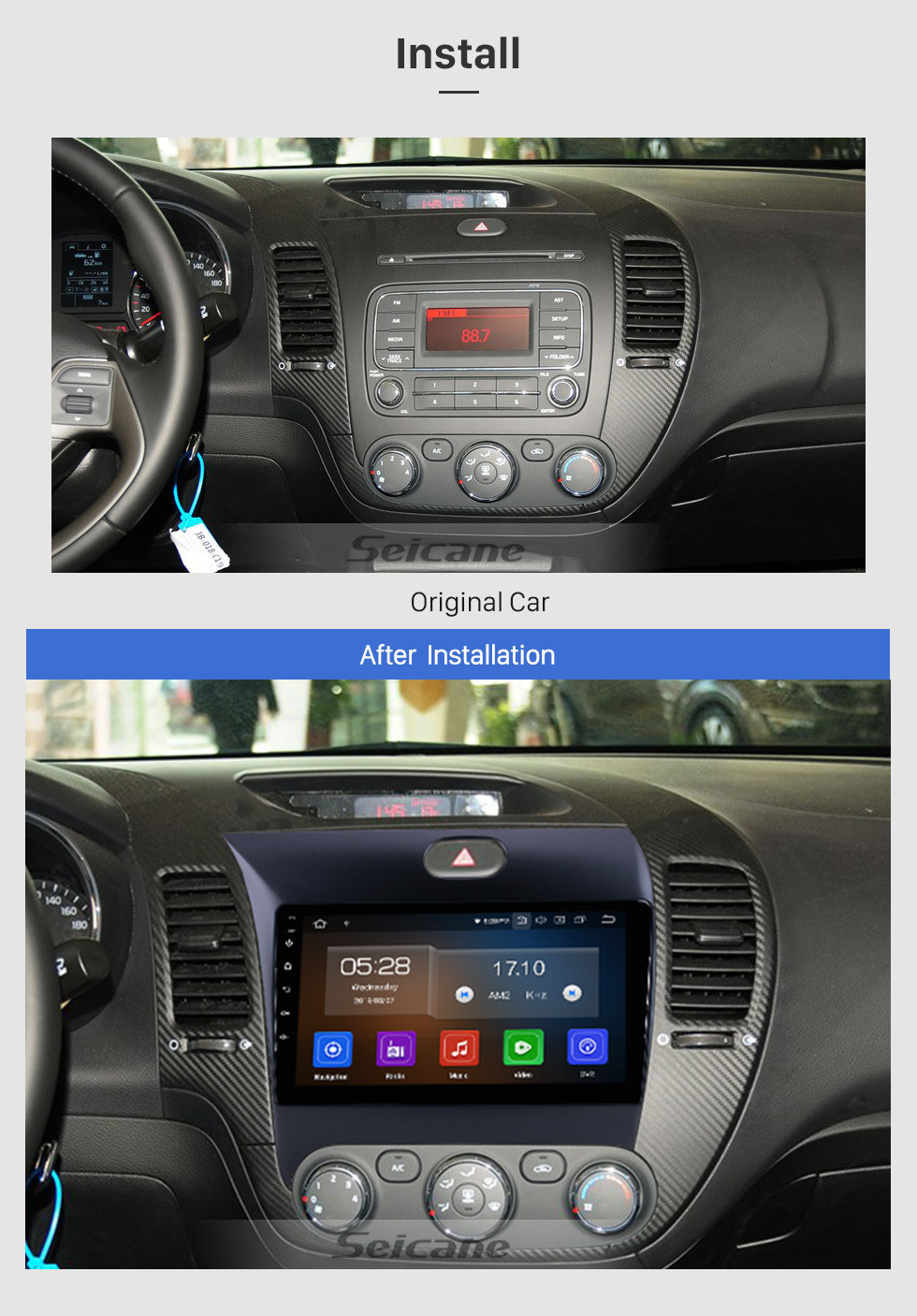 Seicane 9 inch Android 9.0 2013 2014 2015 2016 Kia k3 1024*600 Touchscreen Radio GPS Navigation System 4G WIFI Bluetooth Steering Wheel Control  support OBD2 TPMS Backup Camer a Digital TV DVR