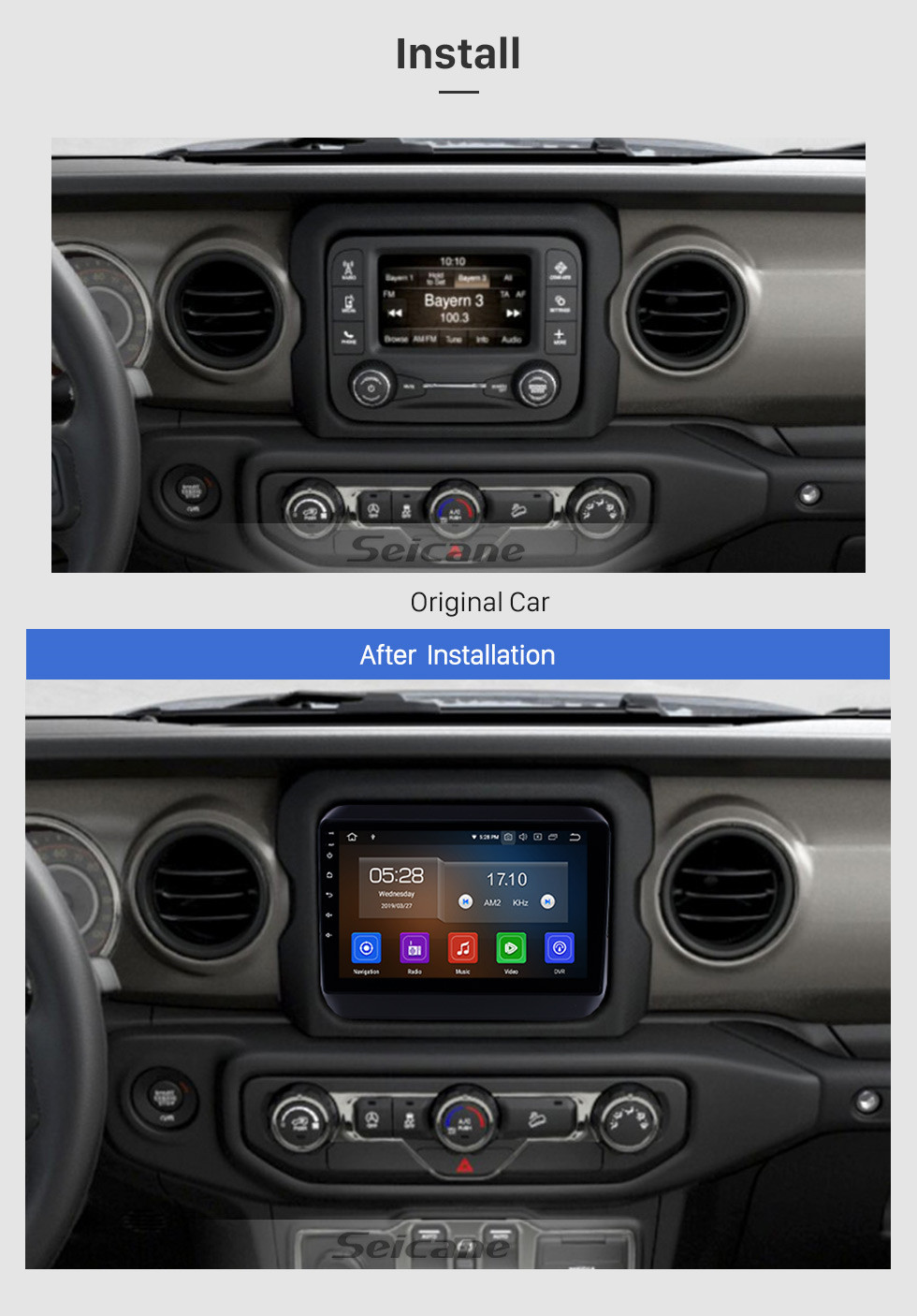 Seicane All in one Android 9.0 GPS Navigation 9 inch HD Touchscreen Stereo for 2018 Jeep Wrangler Rubicon Bluetooth FM WIFI USB Steering Wheel Control USB Carplay AUX support DVR OBD2