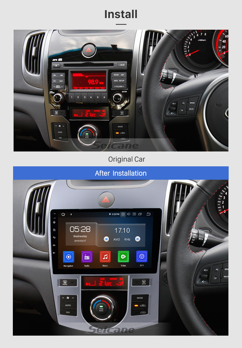 Seicane 9 inch Android 9.0 Radio DVD player navigation system for 2008-2012 KIA FORTE (AT) with Bluetooth GPS HD 1024*600 touch screen OBD2 DVR Rearview camera TV 1080P Video 3G WIFI Steering Wheel Control USB Mirror link