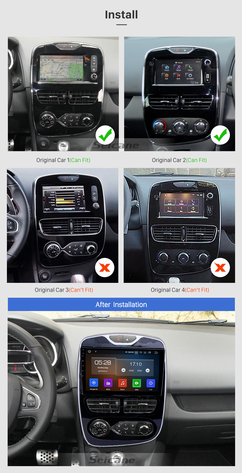 Seicane Android 9.0 10.1 Pulgadas HD Pantalla táctil GPS Sistema de navegación GPS Auto Estéreo 2012-2016 Renault Clio Digital / Analógico Aire acondicionado manual Soporte Bluetooth 3G / 4G WIFI OBDII Control del volante de video DVR