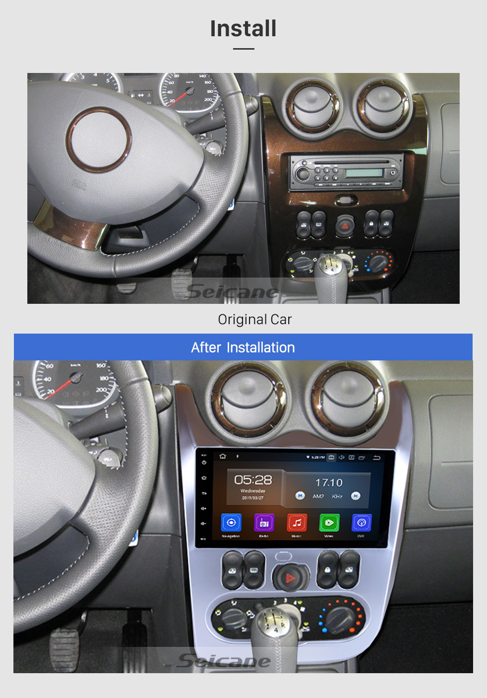 Seicane Android 9.0 de 9 pulgadas HD de pantalla táctil de navegación GPS para 2008 2009 2010 2011 2012 RENAULT DUSTE Logan R radio estéreo Bluetooth de apoyo auxiliar de audio del sistema 1080p Video 4G WIFI Rearview Camera control del volante